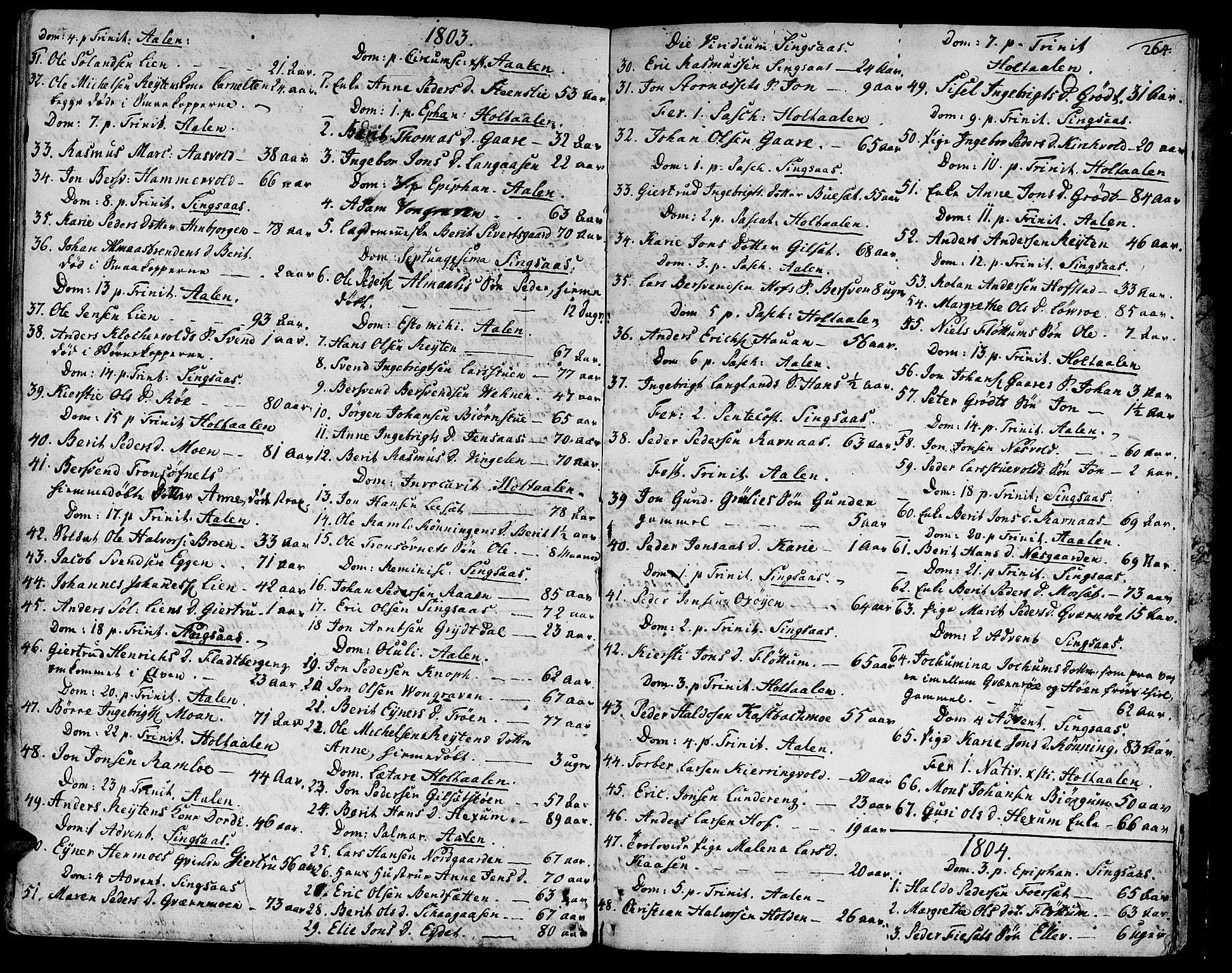 SAT, Ministerialprotokoller, klokkerbøker og fødselsregistre - Sør-Trøndelag, 685/L0952: Ministerialbok nr. 685A01, 1745-1804, s. 264