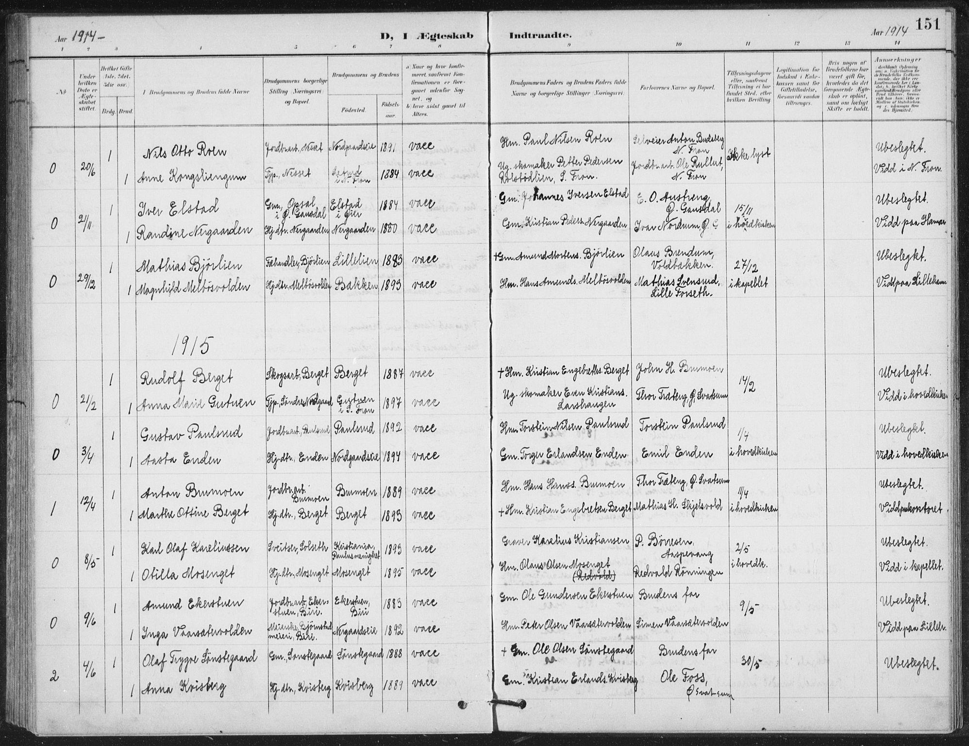 SAH, Vestre Gausdal prestekontor, Klokkerbok nr. 4, 1898-1939, s. 151