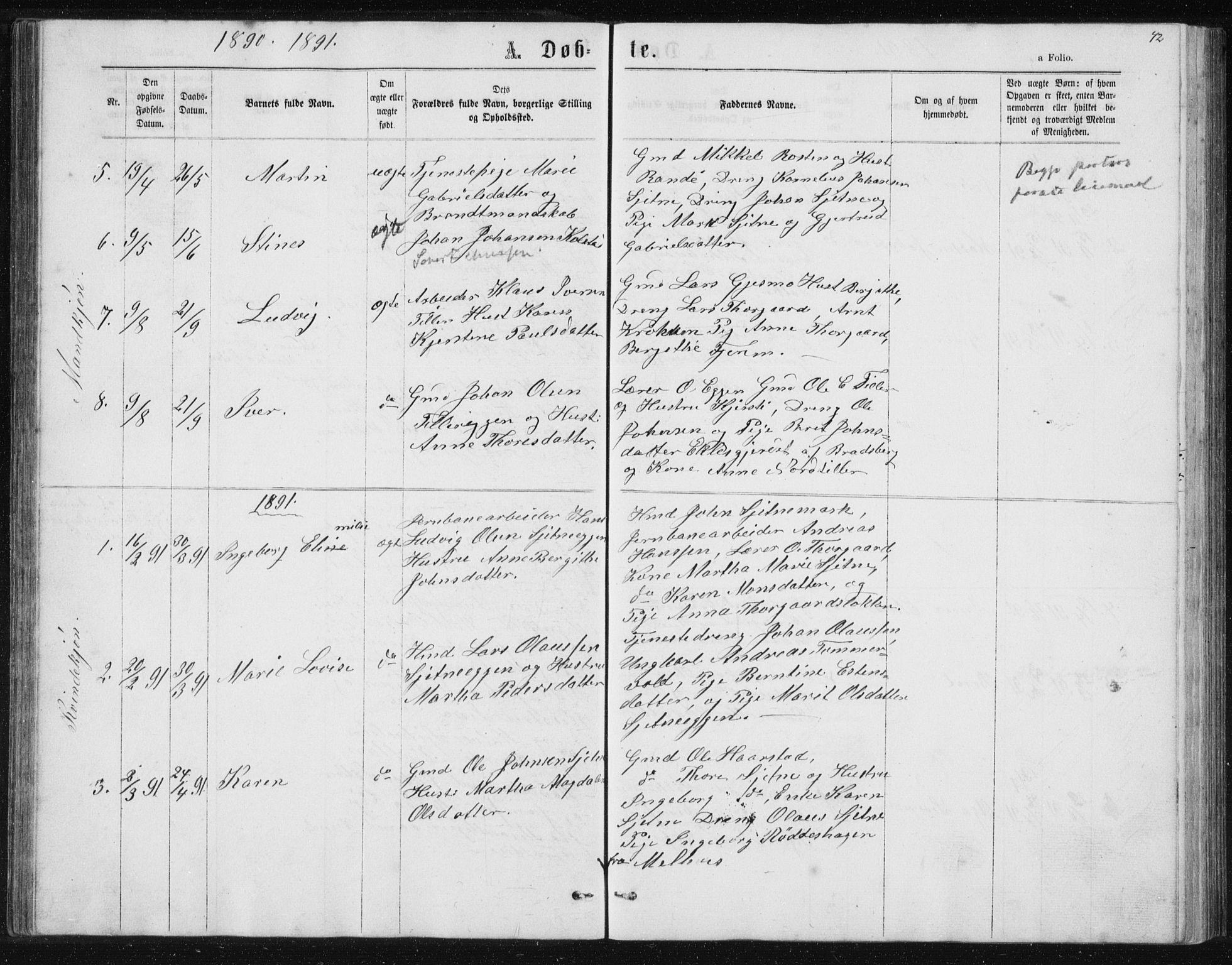 SAT, Ministerialprotokoller, klokkerbøker og fødselsregistre - Sør-Trøndelag, 621/L0459: Klokkerbok nr. 621C02, 1866-1895, s. 42
