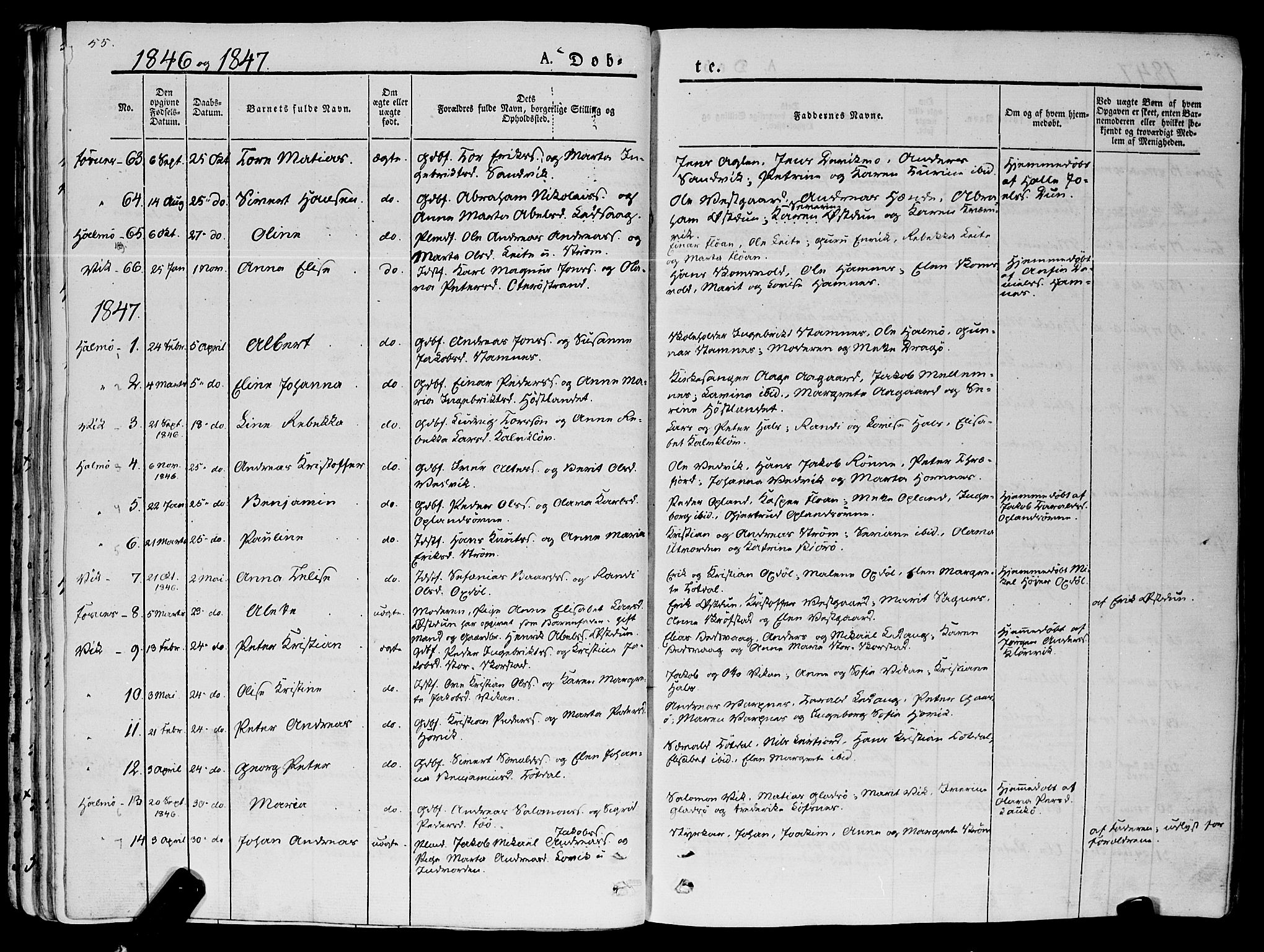 SAT, Ministerialprotokoller, klokkerbøker og fødselsregistre - Nord-Trøndelag, 773/L0614: Ministerialbok nr. 773A05, 1831-1856, s. 55