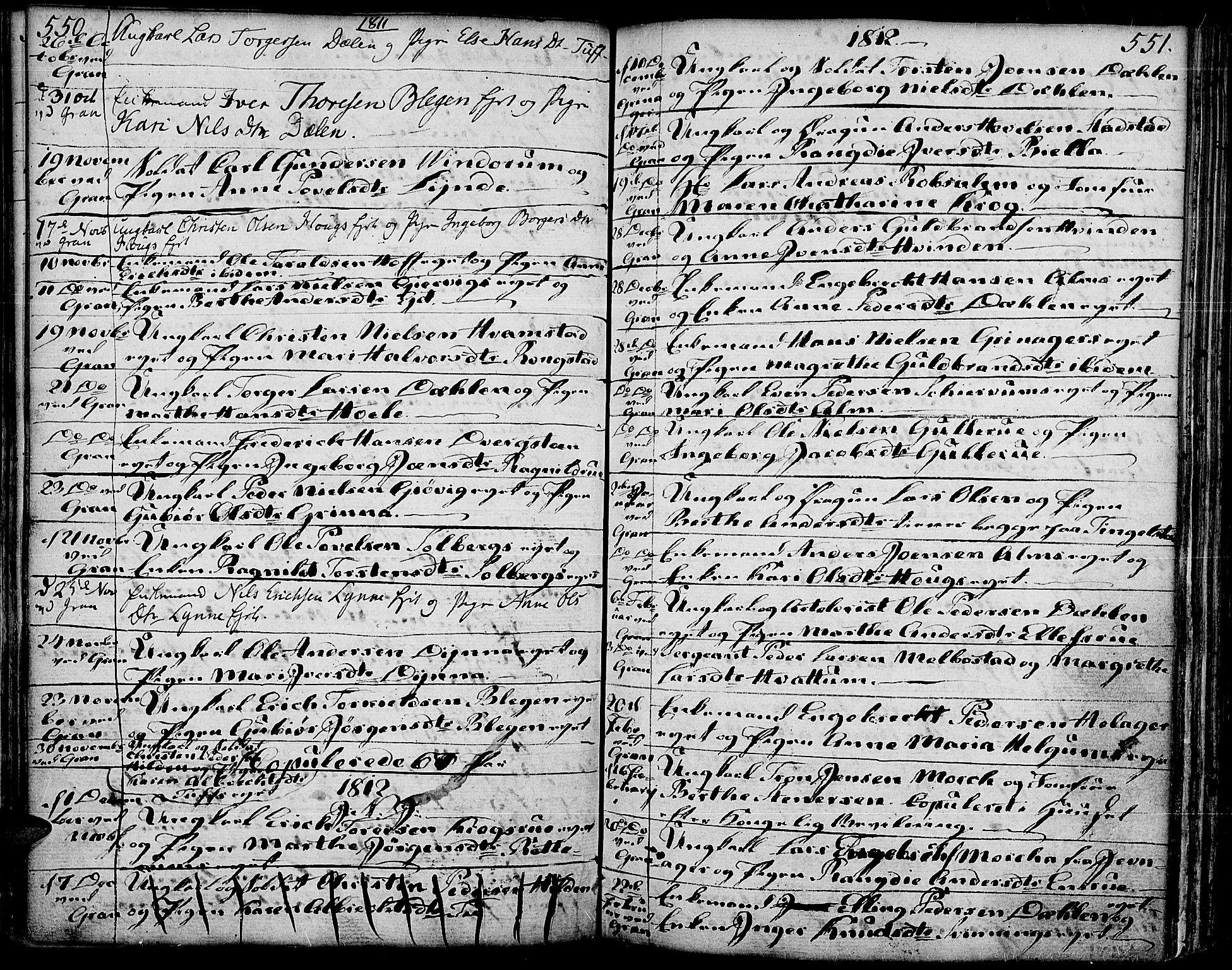 SAH, Gran prestekontor, Ministerialbok nr. 6, 1787-1824, s. 550-551