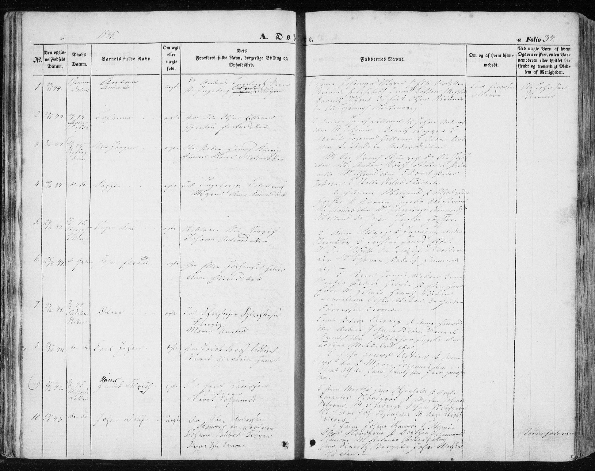 SAT, Ministerialprotokoller, klokkerbøker og fødselsregistre - Sør-Trøndelag, 634/L0529: Ministerialbok nr. 634A05, 1843-1851, s. 34
