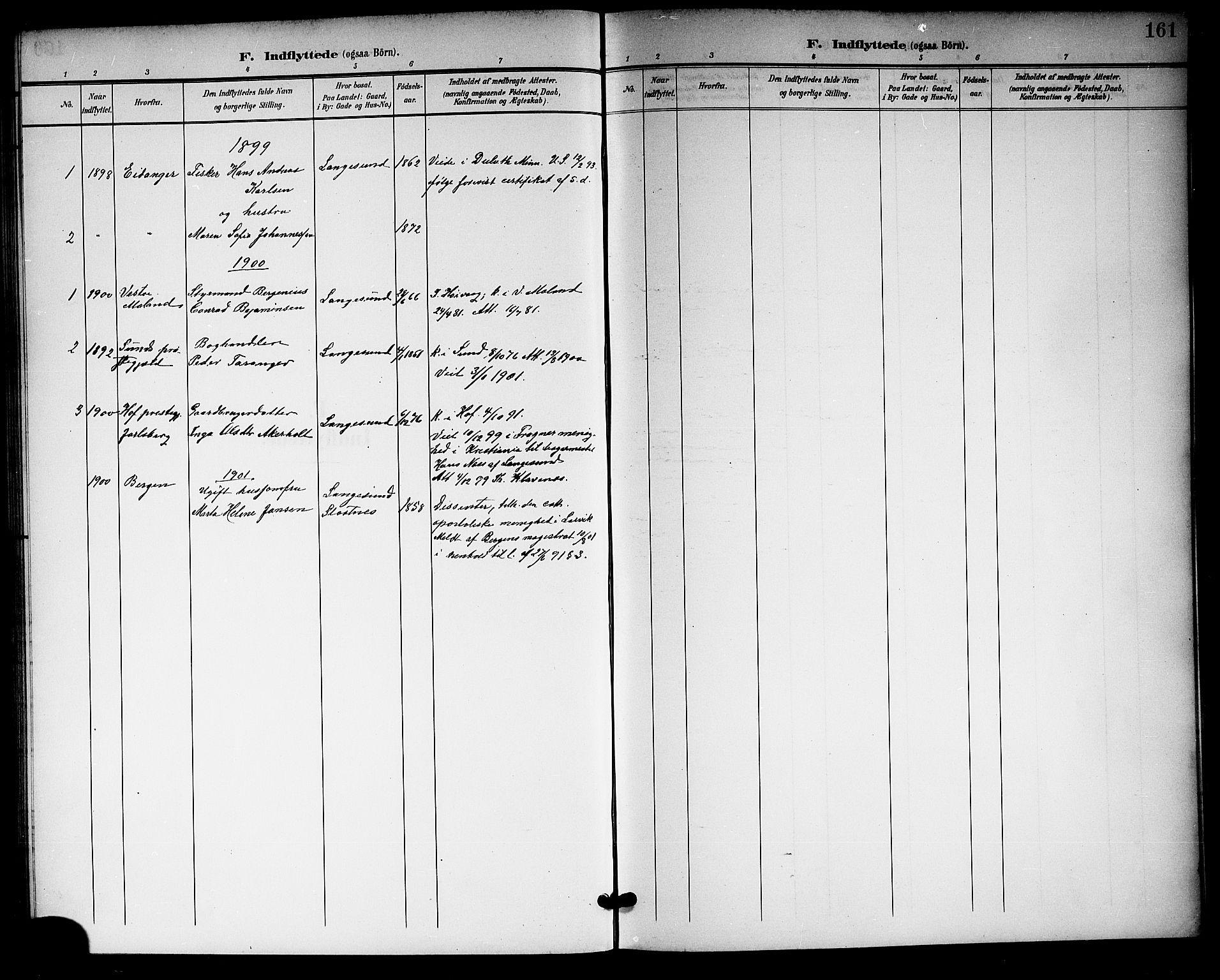 SAKO, Langesund kirkebøker, G/Ga/L0006: Klokkerbok nr. 6, 1899-1918, s. 161