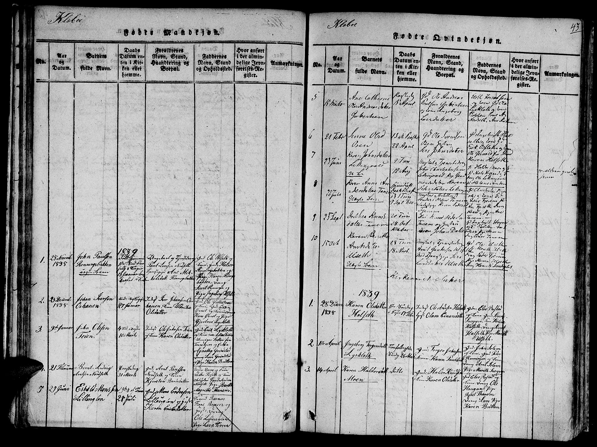 SAT, Ministerialprotokoller, klokkerbøker og fødselsregistre - Sør-Trøndelag, 618/L0439: Ministerialbok nr. 618A04 /1, 1816-1843, s. 43