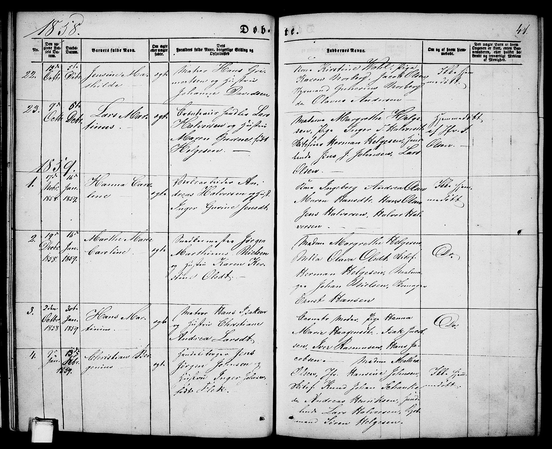 SAKO, Porsgrunn kirkebøker , G/Ga/L0002: Klokkerbok nr. I 2, 1847-1877, s. 41