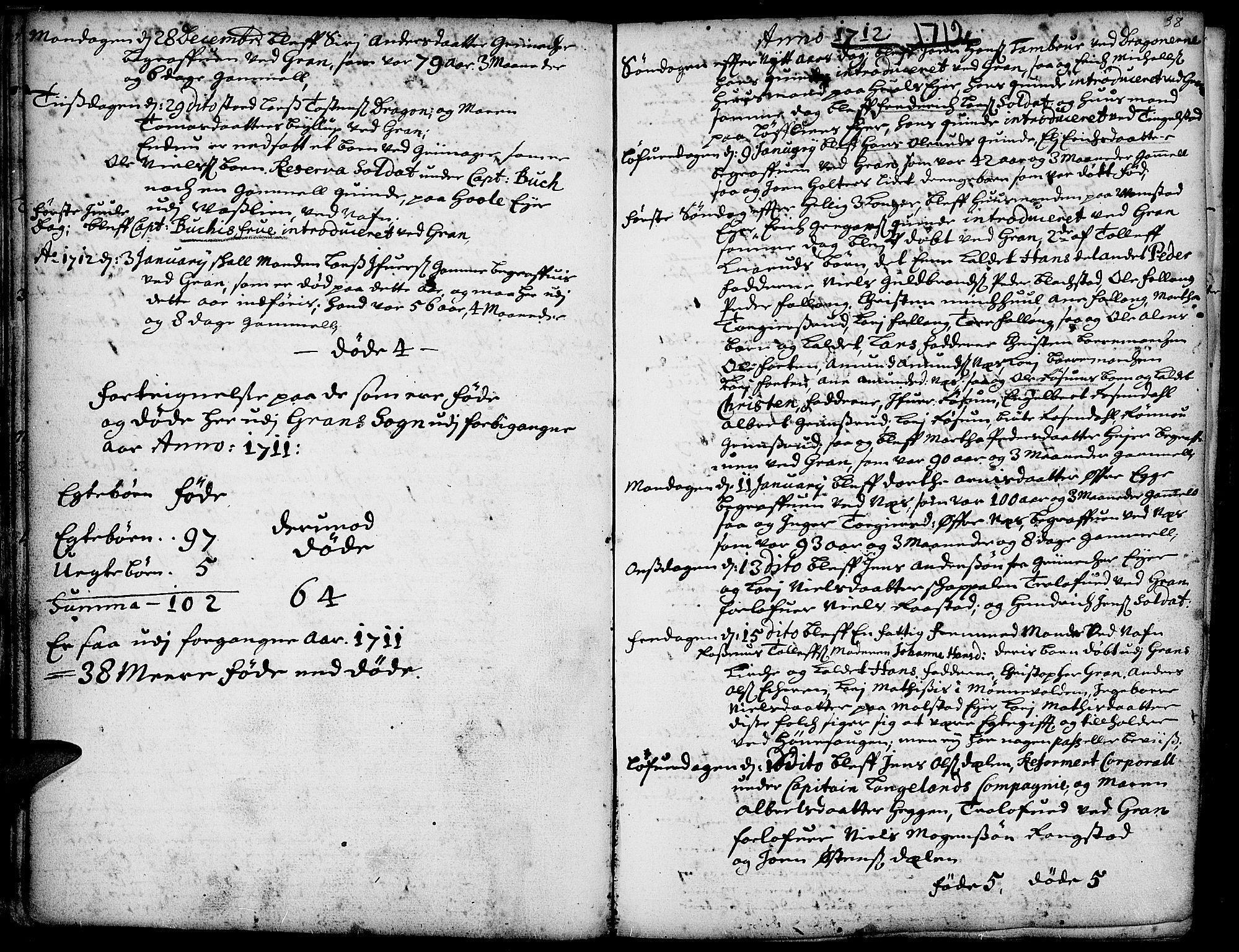 SAH, Gran prestekontor, Ministerialbok nr. 1, 1707-1731, s. 38