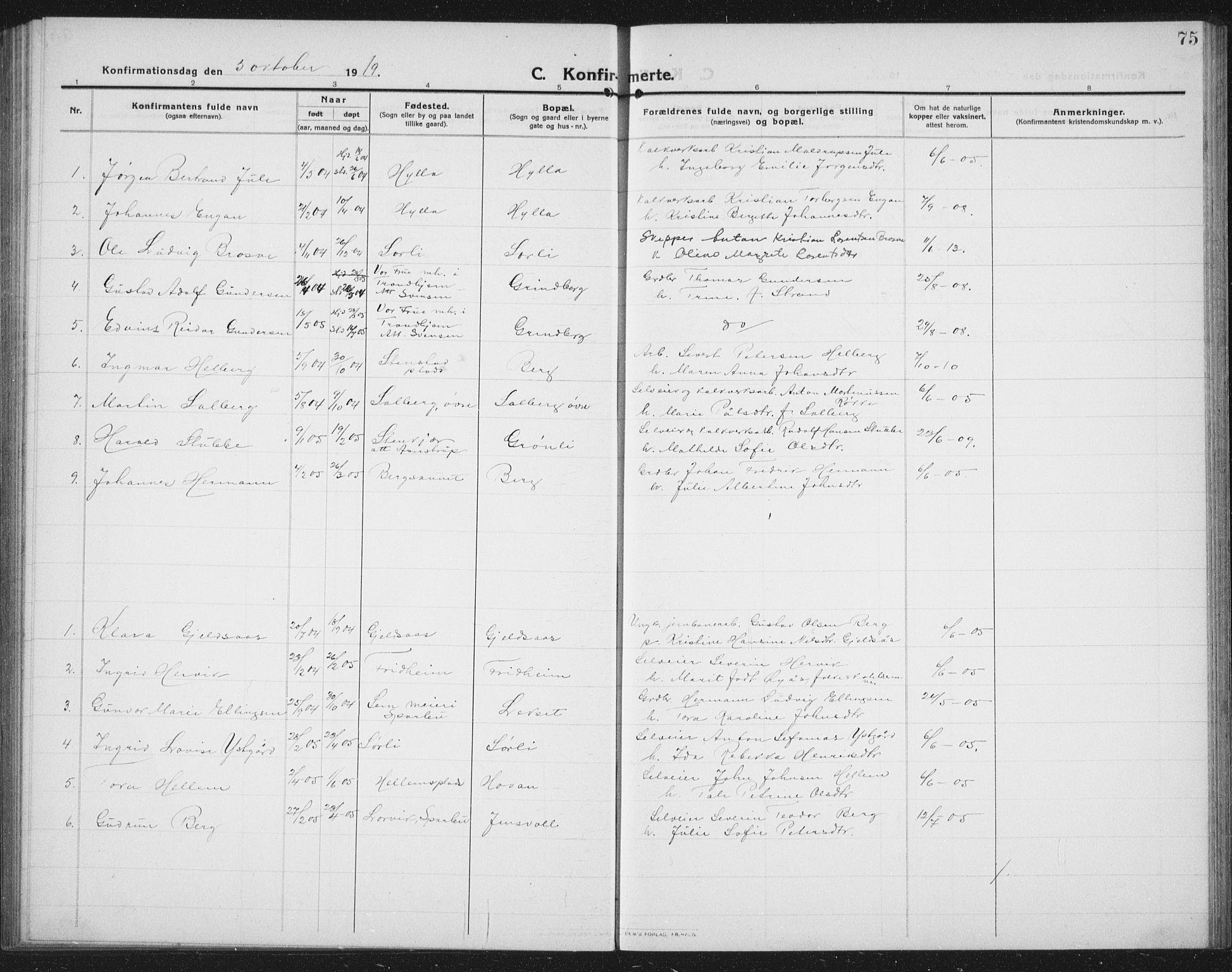SAT, Ministerialprotokoller, klokkerbøker og fødselsregistre - Nord-Trøndelag, 731/L0312: Klokkerbok nr. 731C03, 1911-1935, s. 75