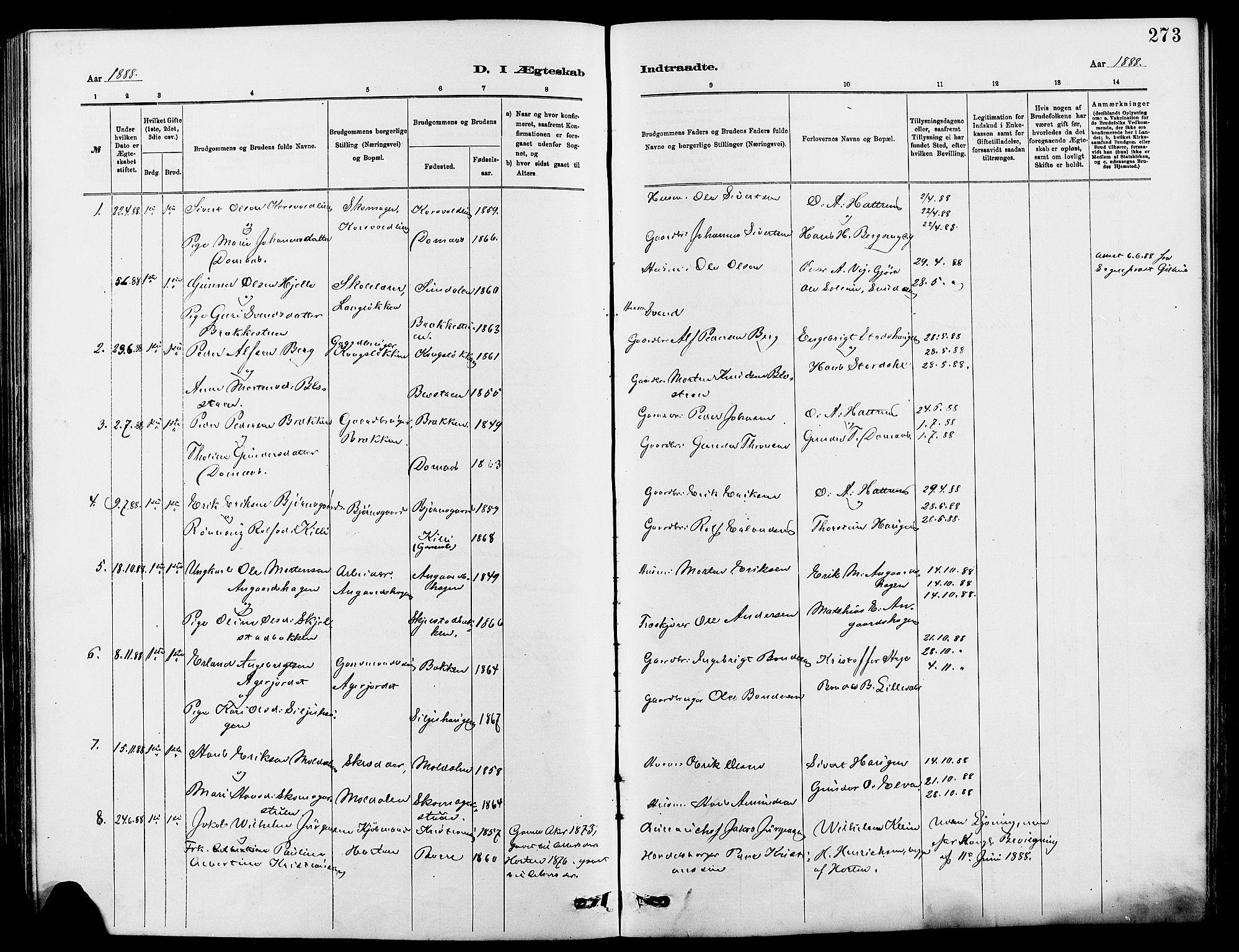 SAH, Dovre prestekontor, Klokkerbok nr. 2, 1881-1907, s. 273