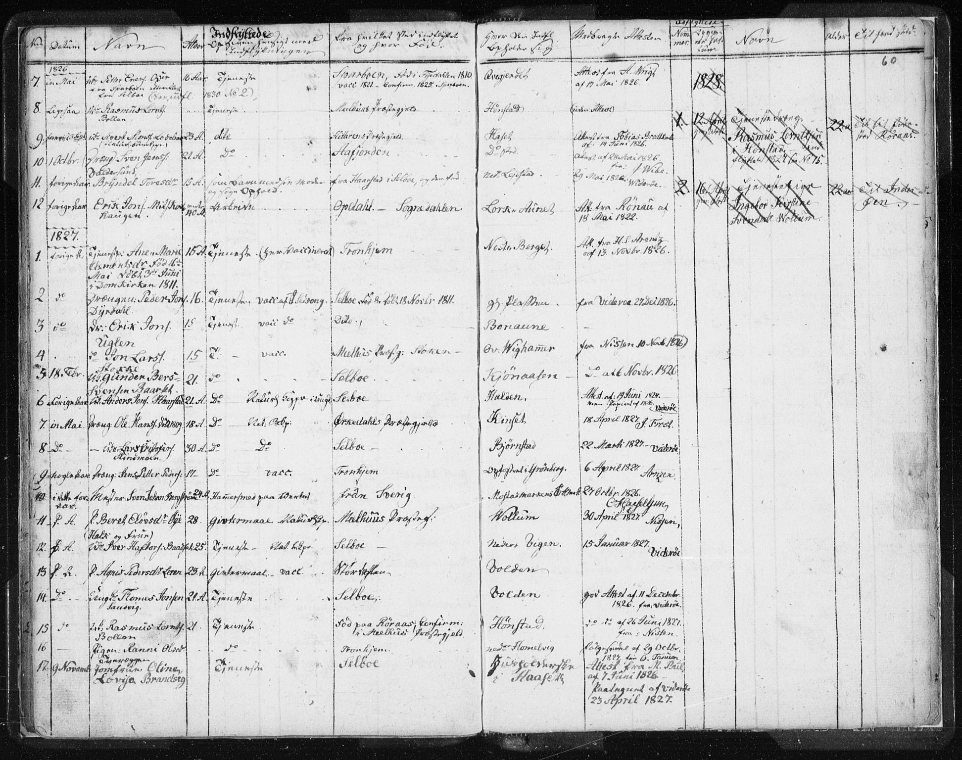 SAT, Ministerialprotokoller, klokkerbøker og fødselsregistre - Sør-Trøndelag, 616/L0404: Ministerialbok nr. 616A01, 1823-1831, s. 60