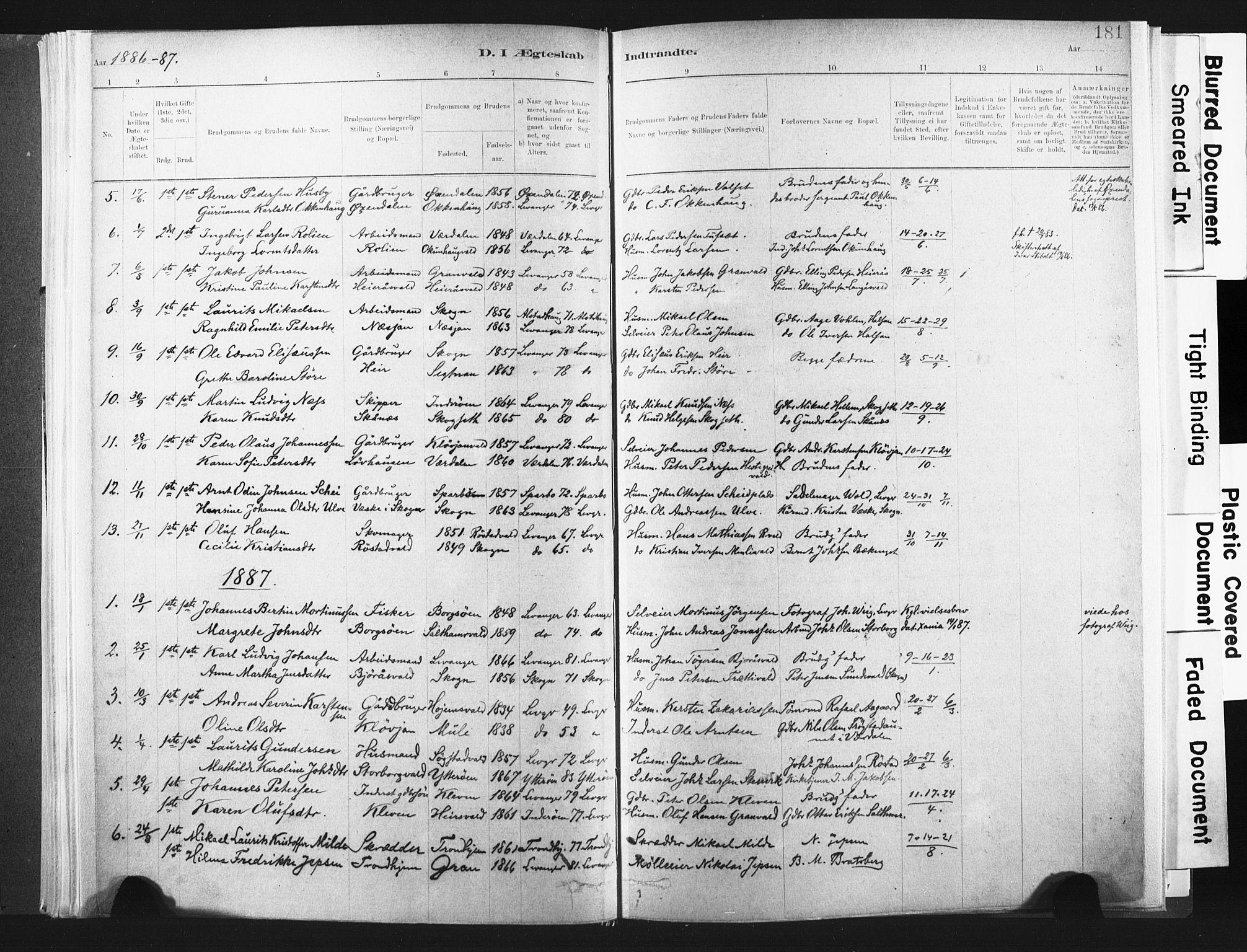 SAT, Ministerialprotokoller, klokkerbøker og fødselsregistre - Nord-Trøndelag, 721/L0207: Ministerialbok nr. 721A02, 1880-1911, s. 181