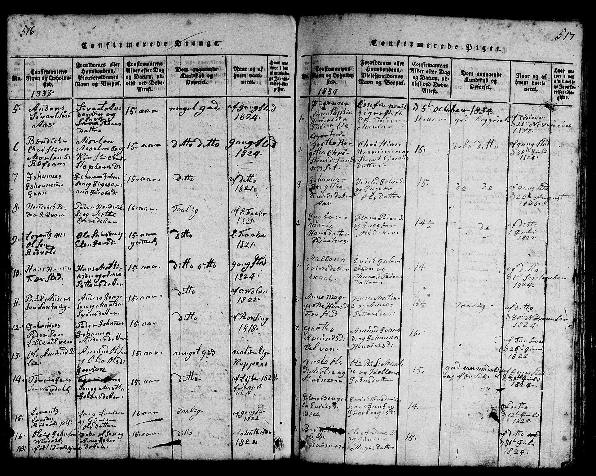 SAT, Ministerialprotokoller, klokkerbøker og fødselsregistre - Nord-Trøndelag, 730/L0298: Klokkerbok nr. 730C01, 1816-1849, s. 516-517