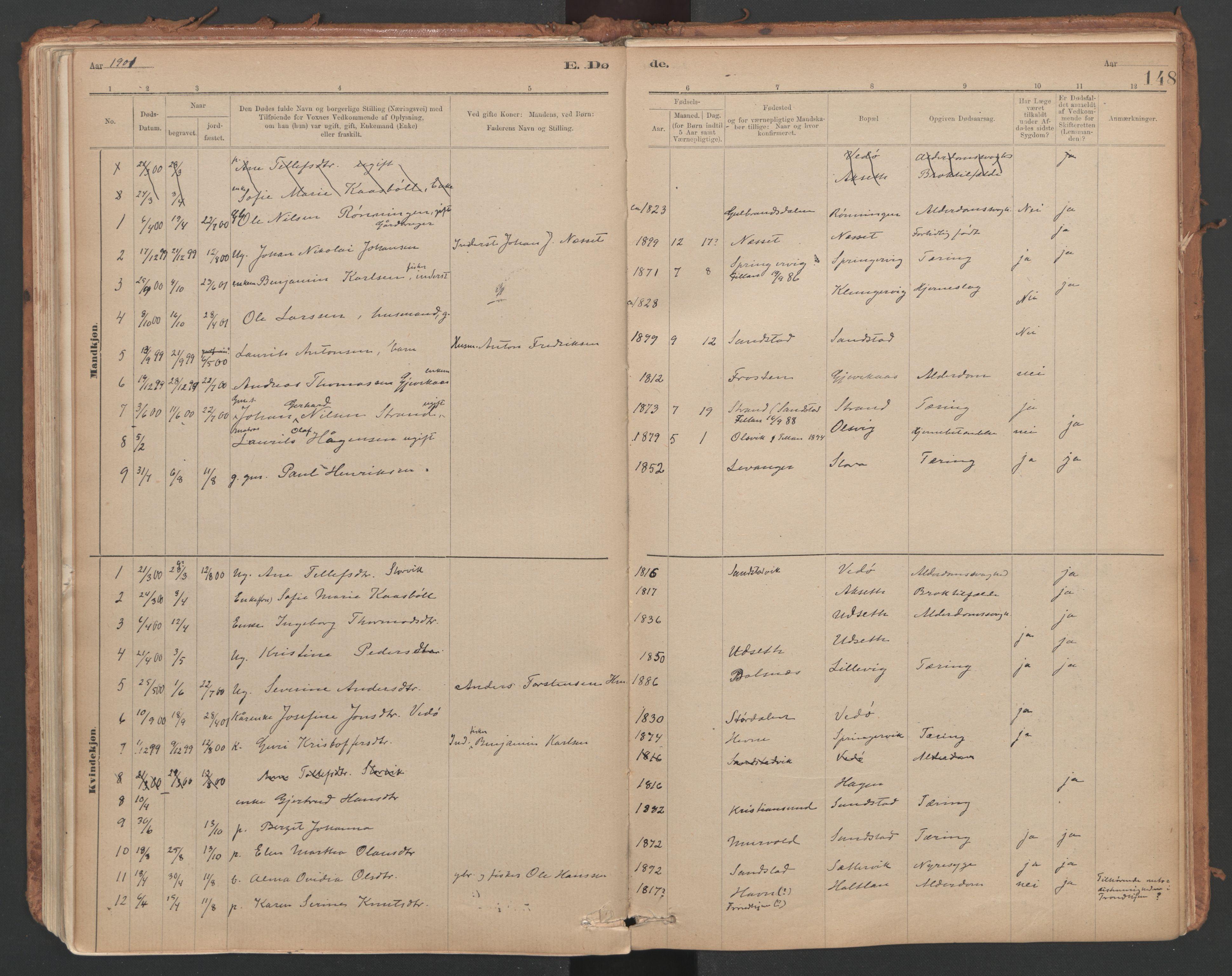 SAT, Ministerialprotokoller, klokkerbøker og fødselsregistre - Sør-Trøndelag, 639/L0572: Ministerialbok nr. 639A01, 1890-1920, s. 148