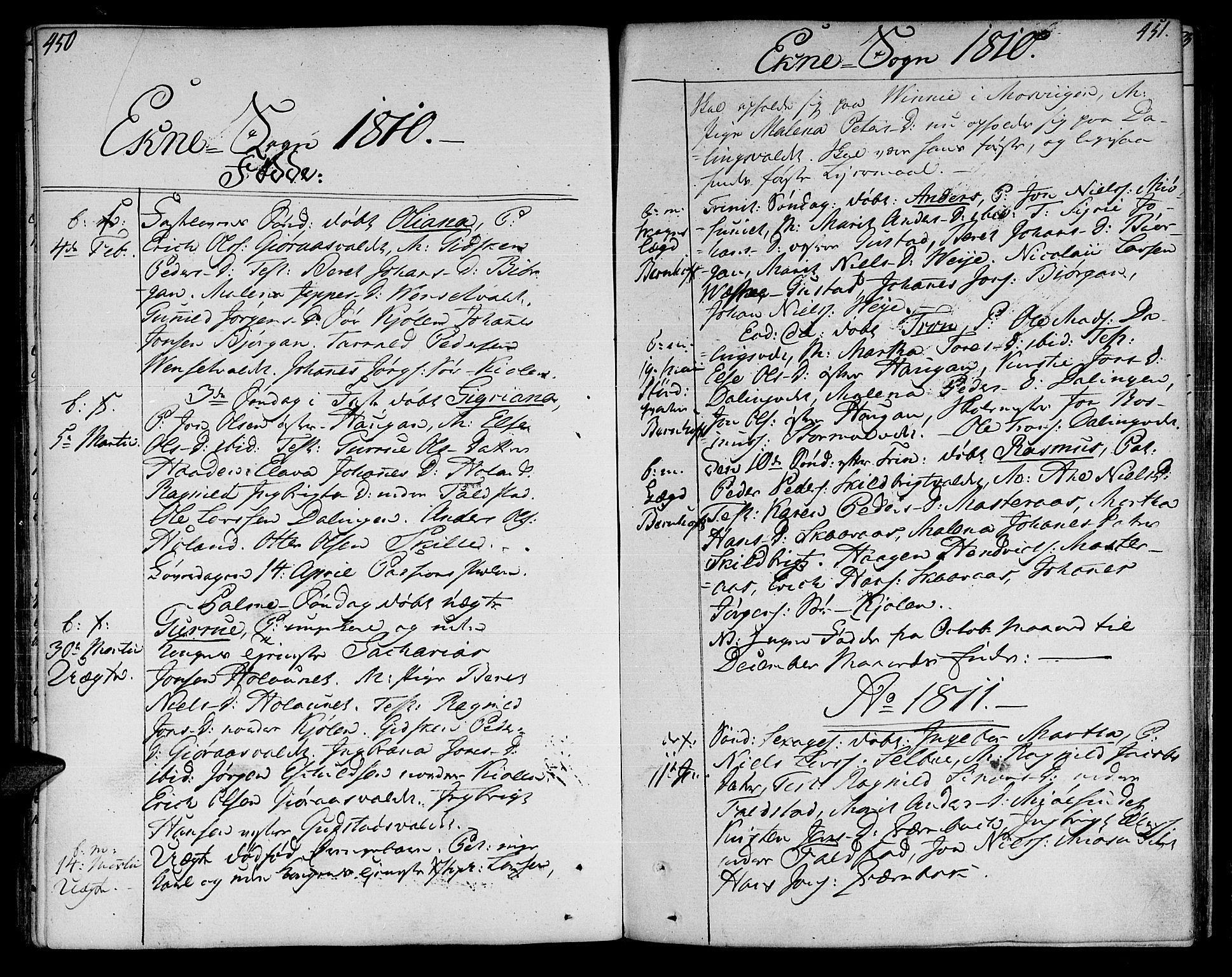 SAT, Ministerialprotokoller, klokkerbøker og fødselsregistre - Nord-Trøndelag, 717/L0145: Ministerialbok nr. 717A03 /2, 1810-1815, s. 450-451