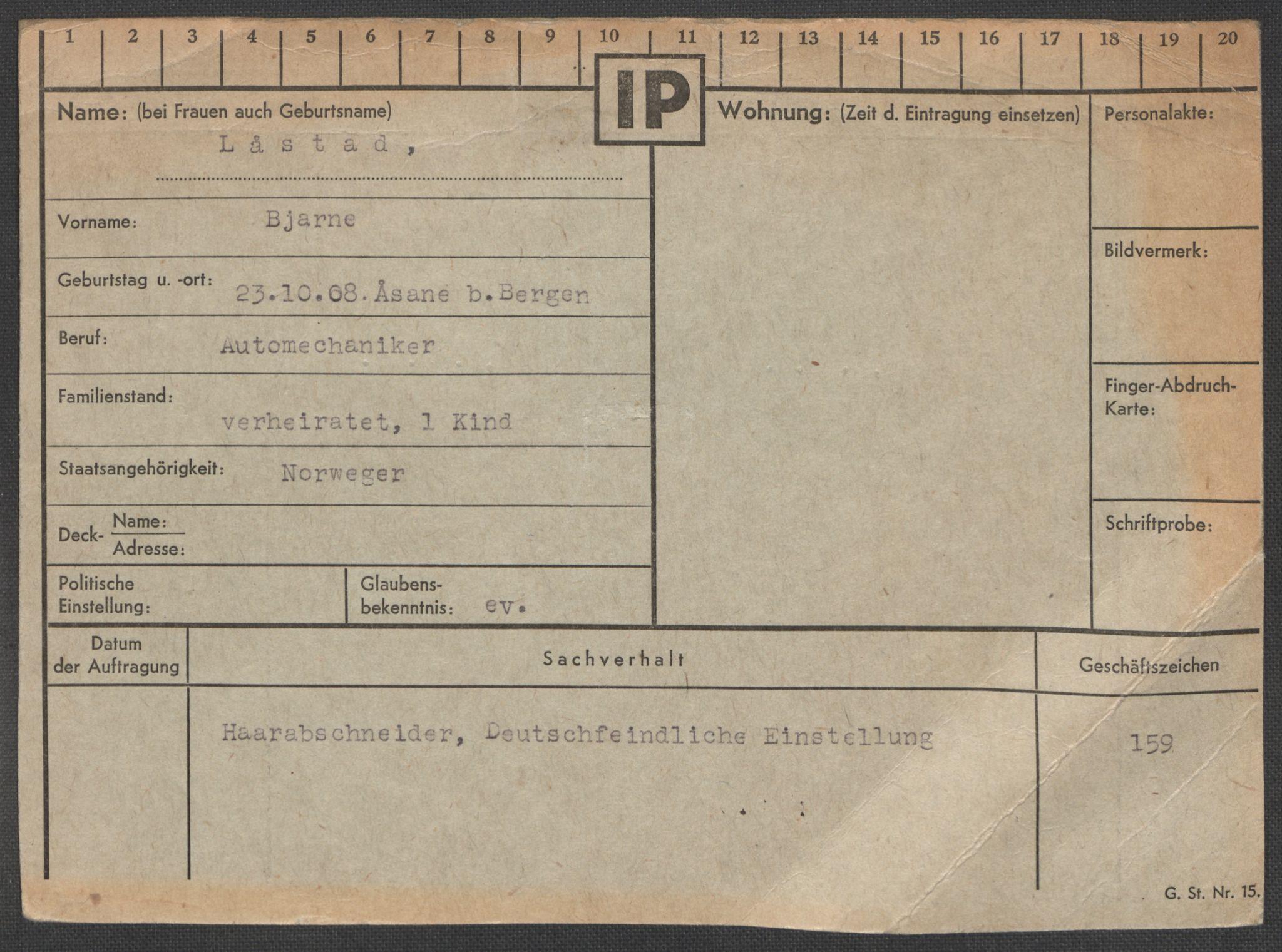 RA, Befehlshaber der Sicherheitspolizei und des SD, E/Ea/Eaa/L0007: Register over norske fanger i Møllergata 19: Lundb-N, 1940-1945, s. 198