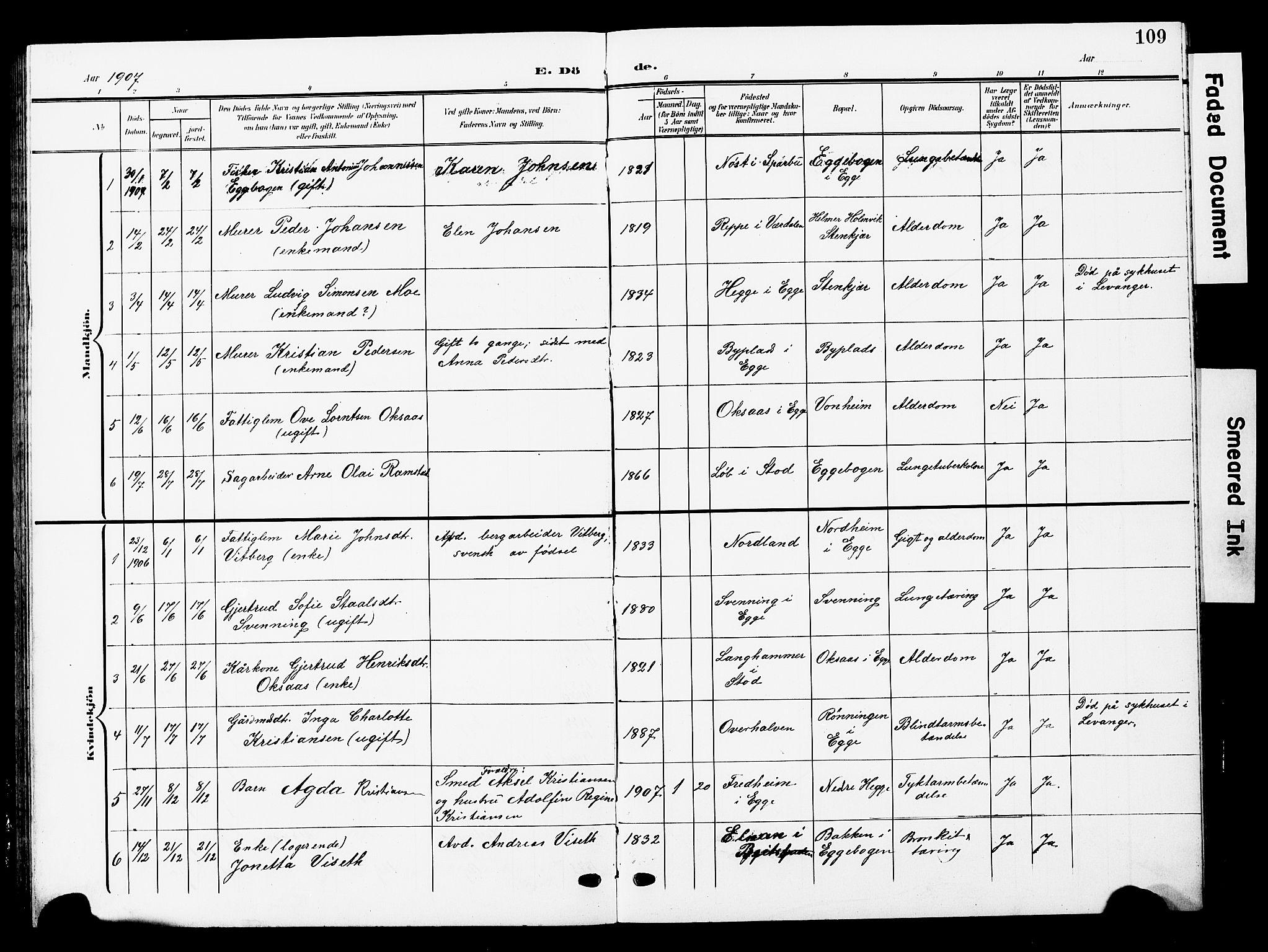 SAT, Ministerialprotokoller, klokkerbøker og fødselsregistre - Nord-Trøndelag, 740/L0381: Klokkerbok nr. 740C02, 1903-1914, s. 109