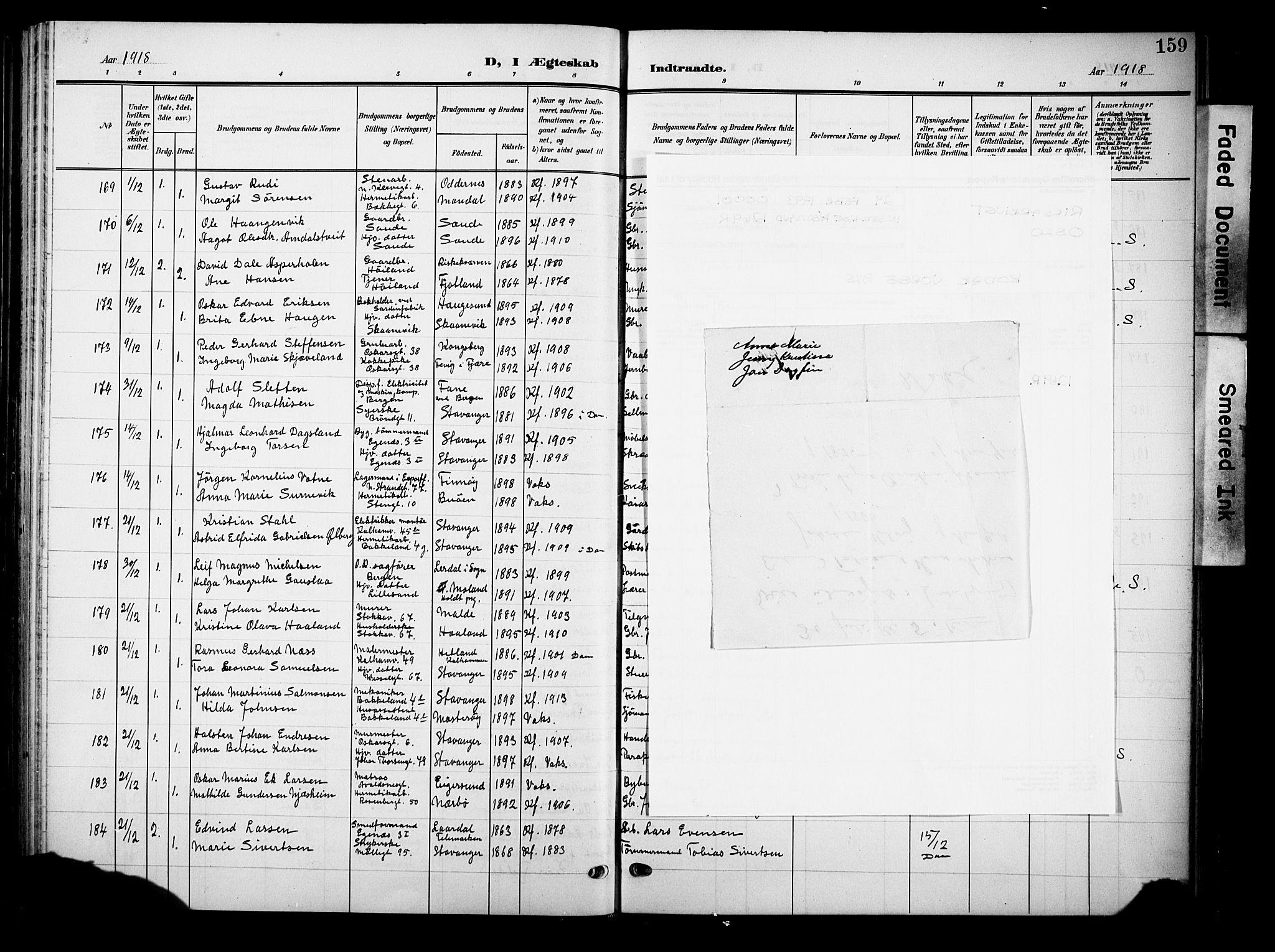 SAST, Domkirken sokneprestkontor, 30/30BB/L0017: Klokkerbok nr. B 17, 1902-1921, s. 159