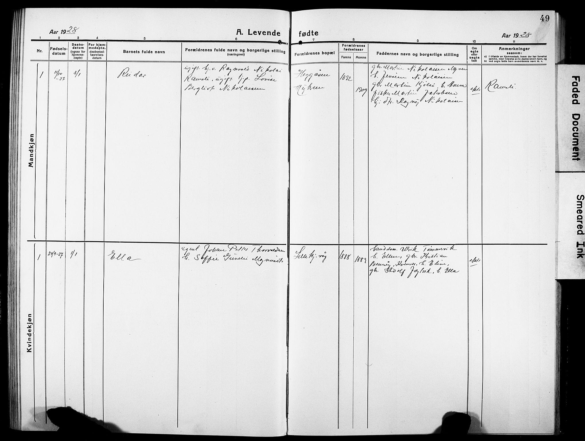 SAT, Ministerialprotokoller, klokkerbøker og fødselsregistre - Sør-Trøndelag, 634/L0543: Klokkerbok nr. 634C05, 1917-1928, s. 49