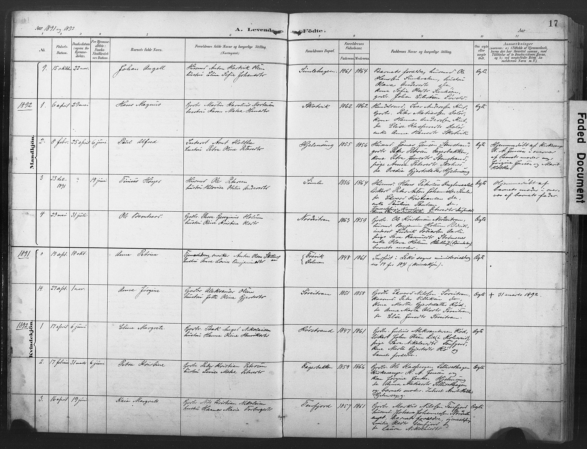 SAT, Ministerialprotokoller, klokkerbøker og fødselsregistre - Nord-Trøndelag, 789/L0706: Klokkerbok nr. 789C01, 1888-1931, s. 17