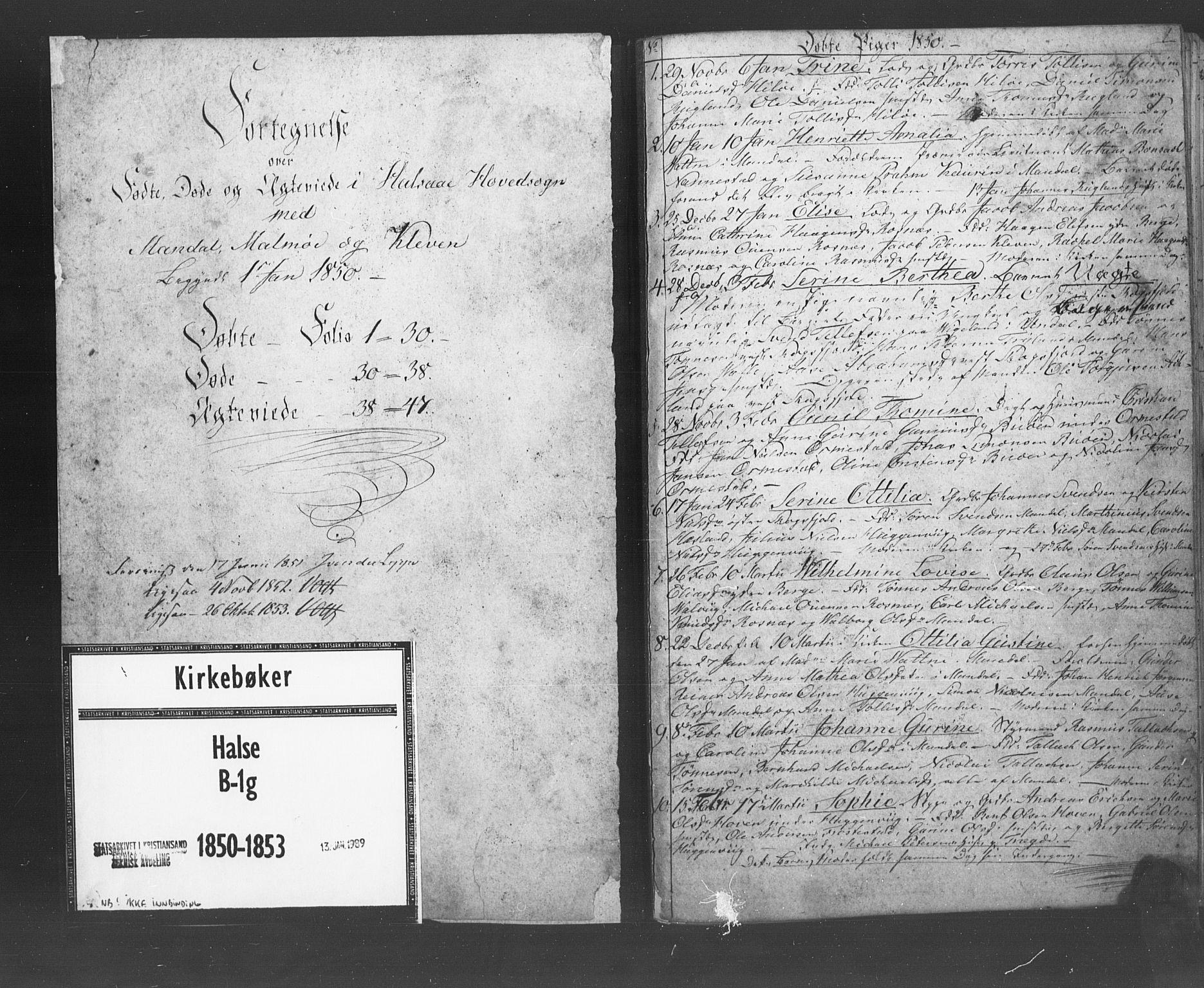 SAK, Mandal sokneprestkontor, F/Fb/Fba/L0007: Klokkerbok nr. B 1G, 1850-1853, s. 1