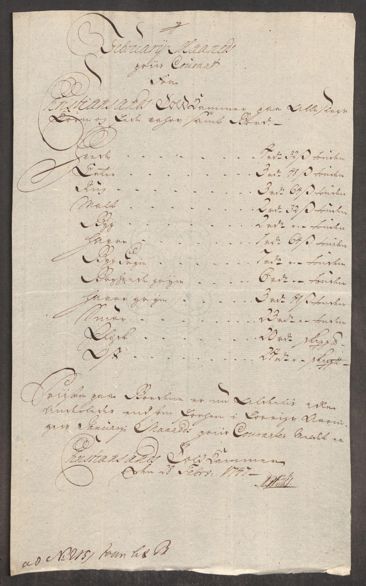 RA, Rentekammeret inntil 1814, Realistisk ordnet avdeling, Oe/L0003: [Ø1]: Priskuranter, 1745-1748, s. 624