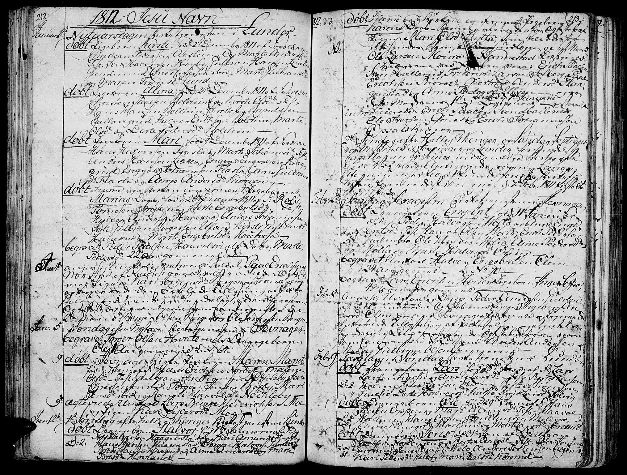 SAH, Jevnaker prestekontor, Ministerialbok nr. 4, 1800-1861, s. 212-213