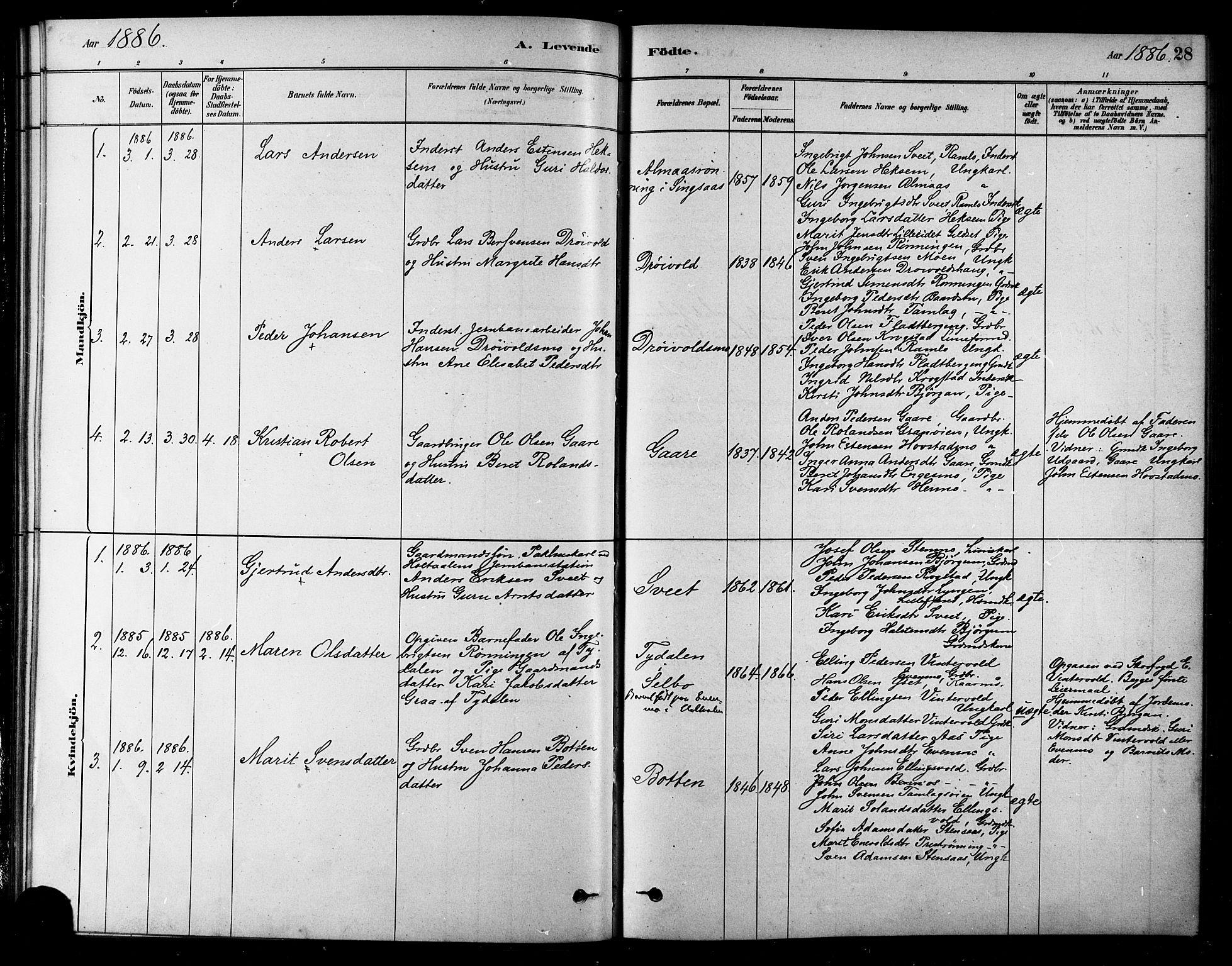SAT, Ministerialprotokoller, klokkerbøker og fødselsregistre - Sør-Trøndelag, 685/L0972: Ministerialbok nr. 685A09, 1879-1890, s. 28