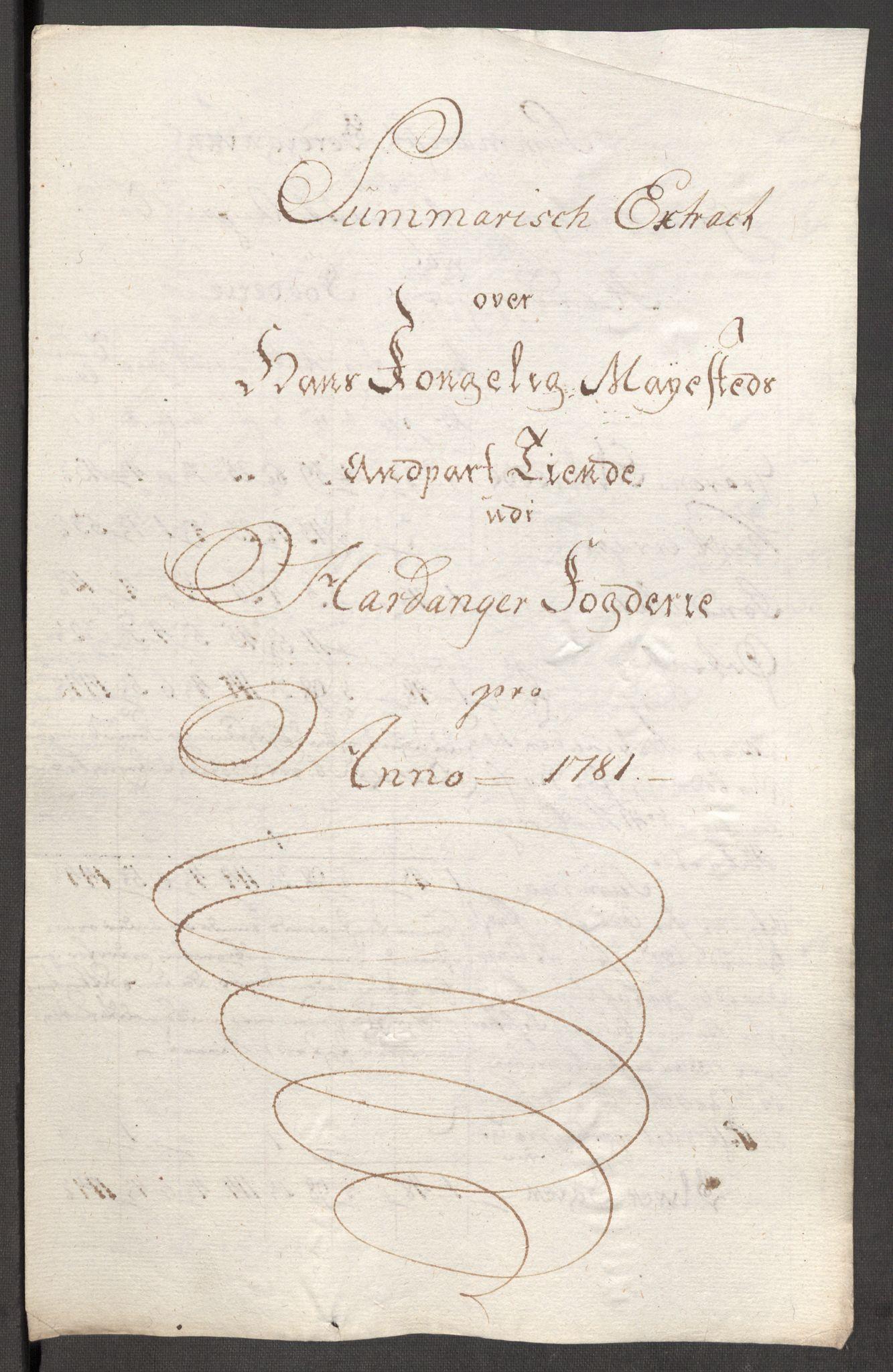 RA, Rentekammeret inntil 1814, Reviderte regnskaper, Fogderegnskap, R48/L3097: Fogderegnskap Sunnhordland og Hardanger, 1781, s. 303