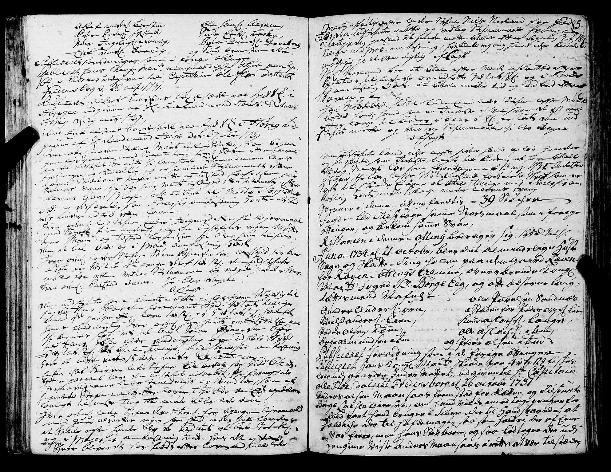 SAT, Romsdal sorenskriveri, 1/1A/L0011: Tingbok, 1732-1740, s. 84b-85a
