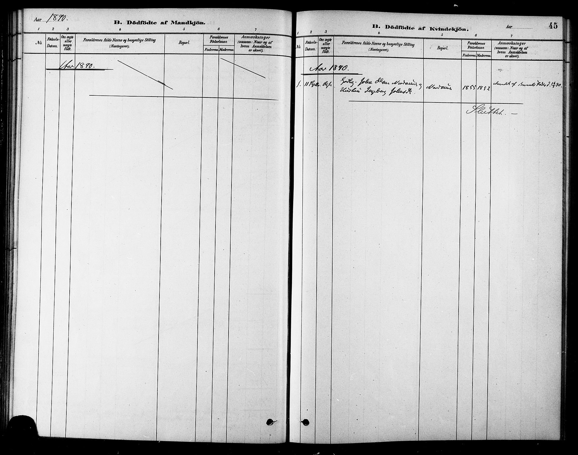 SAT, Ministerialprotokoller, klokkerbøker og fødselsregistre - Sør-Trøndelag, 685/L0972: Ministerialbok nr. 685A09, 1879-1890, s. 45
