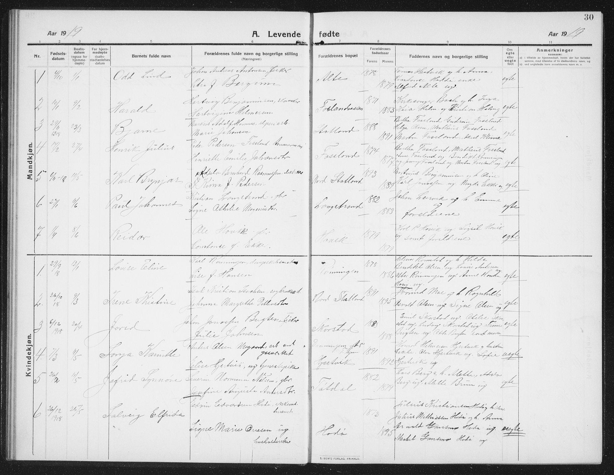 SAT, Ministerialprotokoller, klokkerbøker og fødselsregistre - Nord-Trøndelag, 774/L0630: Klokkerbok nr. 774C01, 1910-1934, s. 30