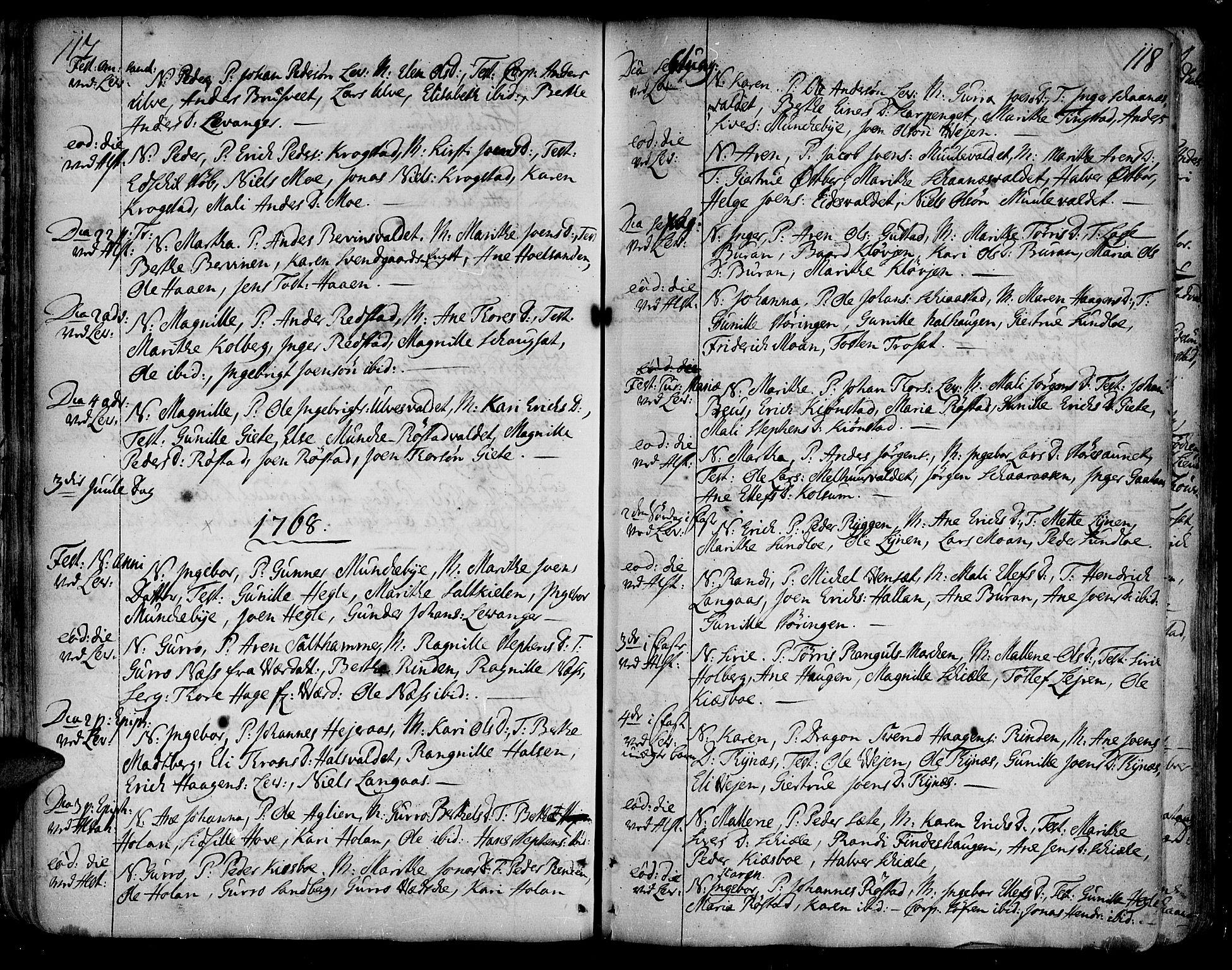 SAT, Ministerialprotokoller, klokkerbøker og fødselsregistre - Nord-Trøndelag, 717/L0141: Ministerialbok nr. 717A01, 1747-1803, s. 117-118