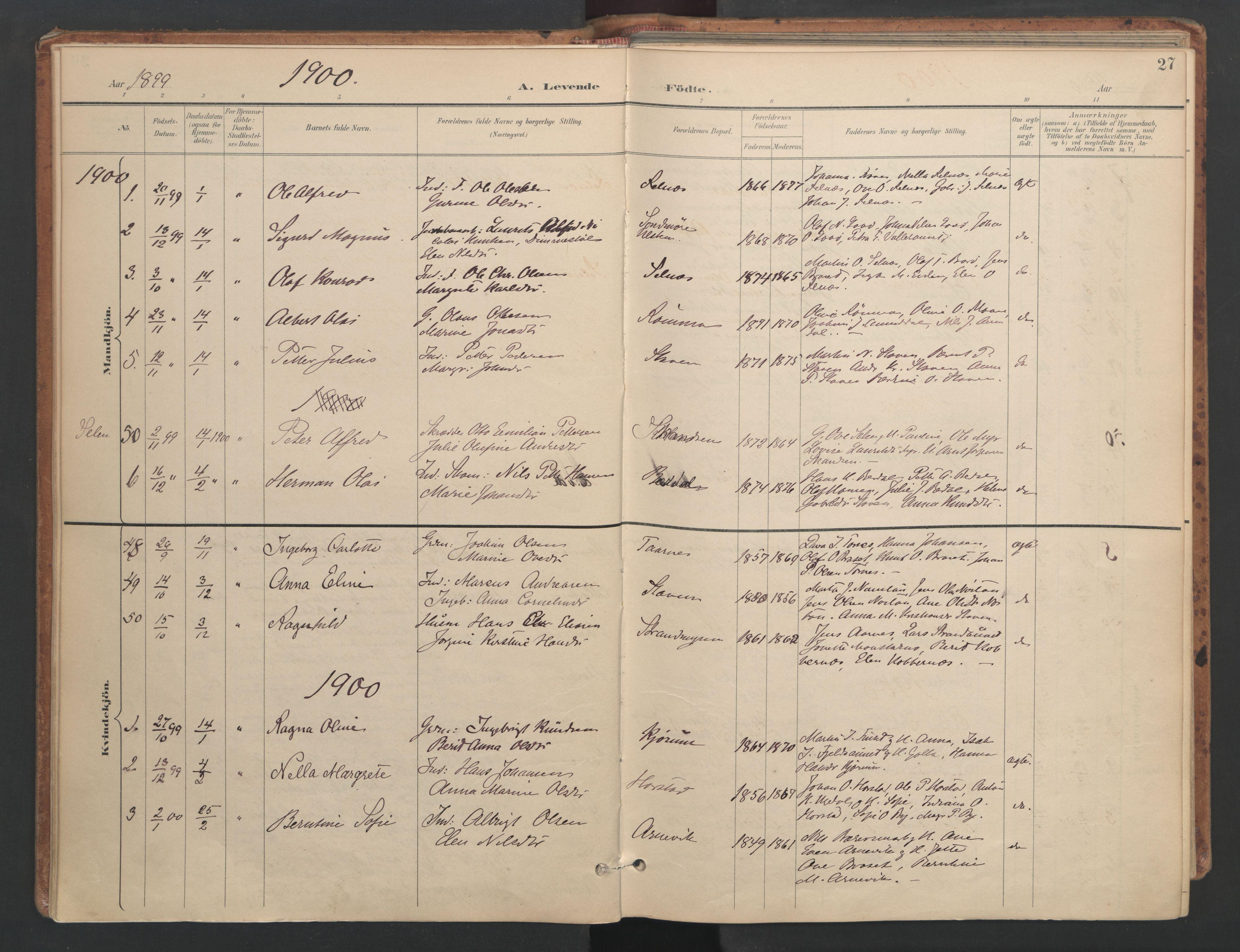 SAT, Ministerialprotokoller, klokkerbøker og fødselsregistre - Sør-Trøndelag, 655/L0681: Ministerialbok nr. 655A10, 1895-1907, s. 27