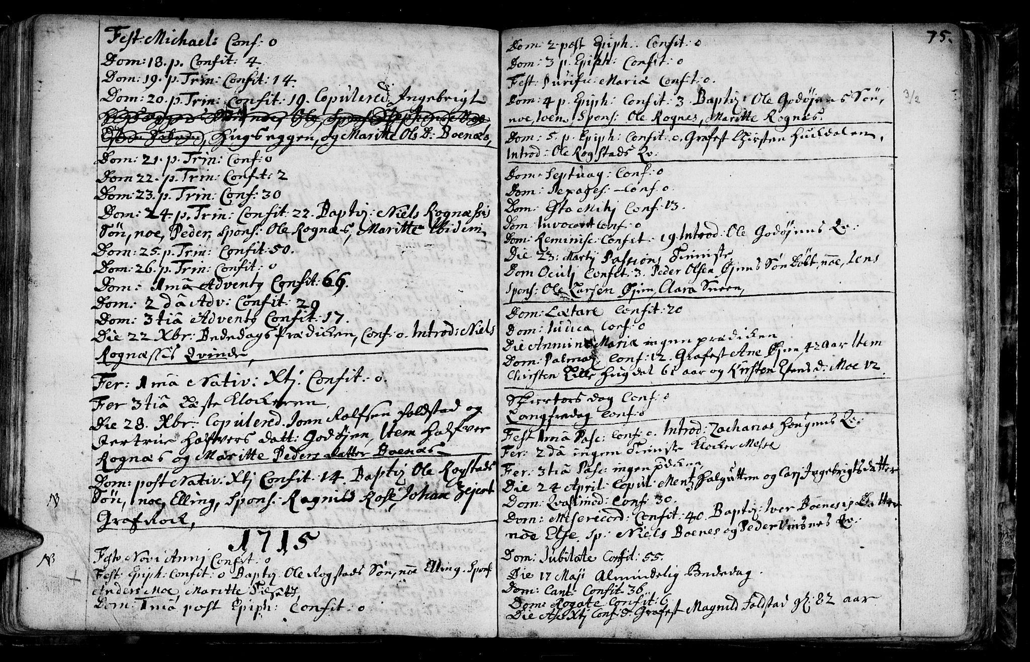 SAT, Ministerialprotokoller, klokkerbøker og fødselsregistre - Sør-Trøndelag, 687/L0990: Ministerialbok nr. 687A01, 1690-1746, s. 75