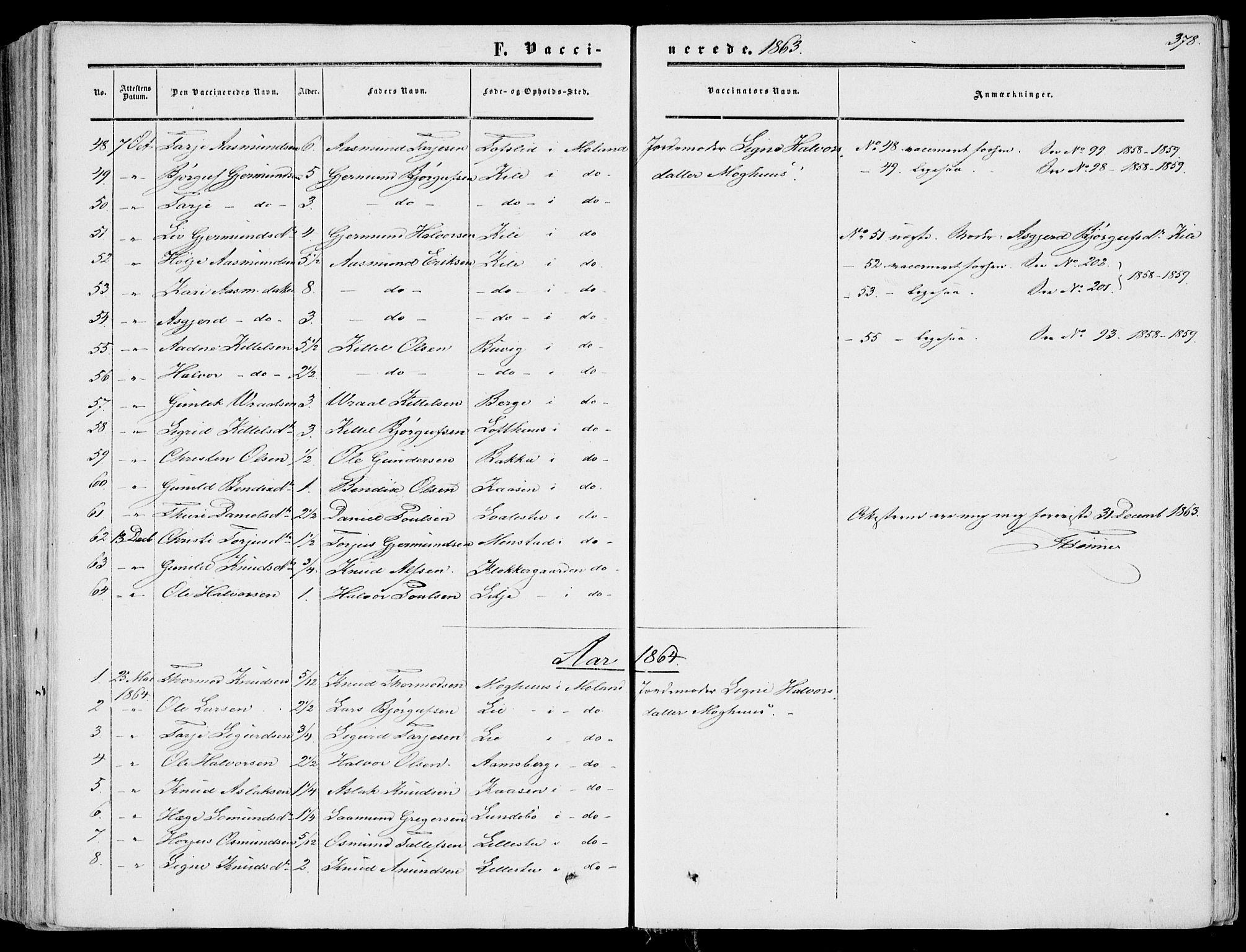 SAKO, Fyresdal kirkebøker, F/Fa/L0005: Ministerialbok nr. I 5, 1855-1871, s. 378