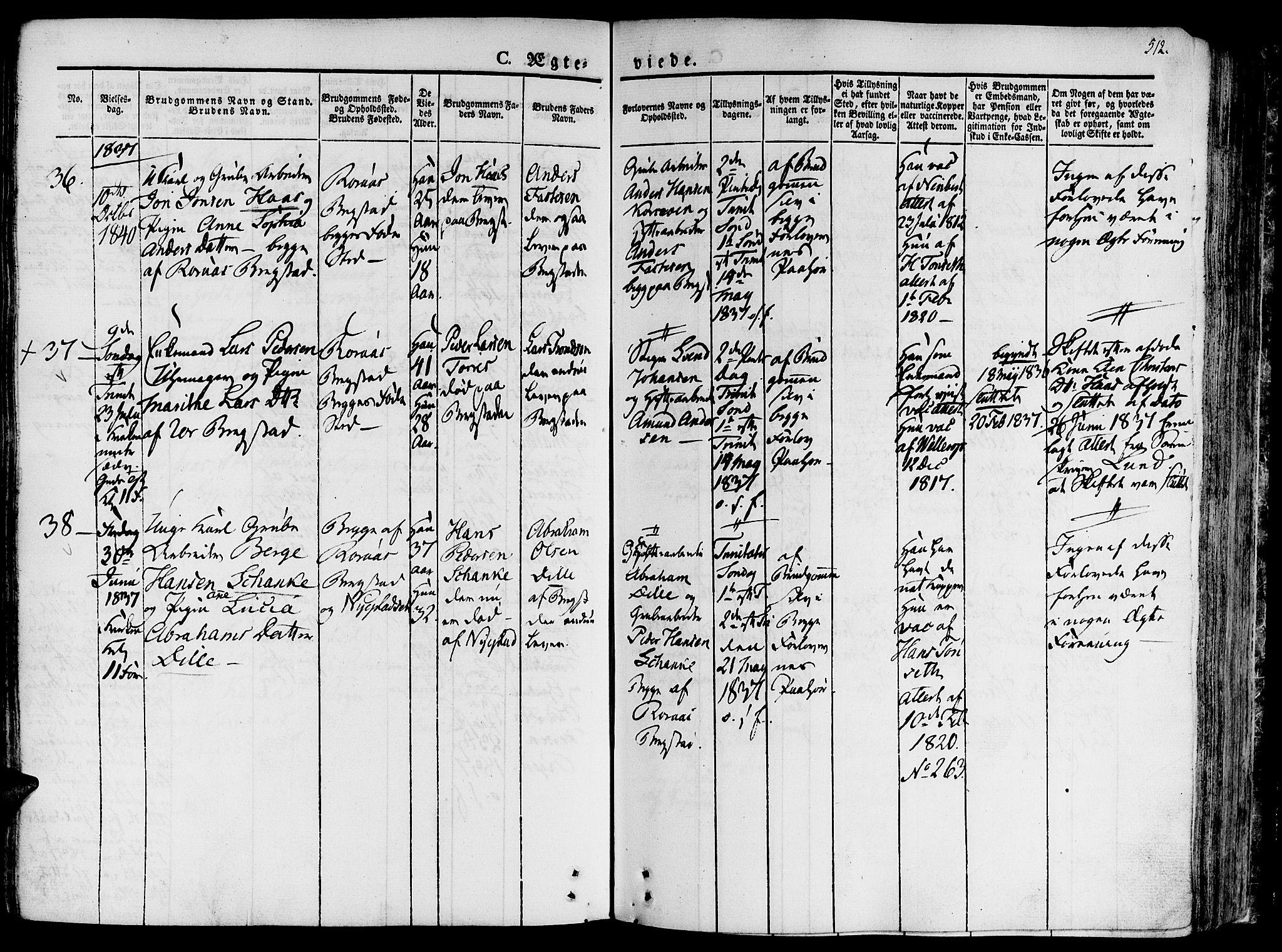 SAT, Ministerialprotokoller, klokkerbøker og fødselsregistre - Sør-Trøndelag, 681/L0930: Ministerialbok nr. 681A08, 1829-1844, s. 512