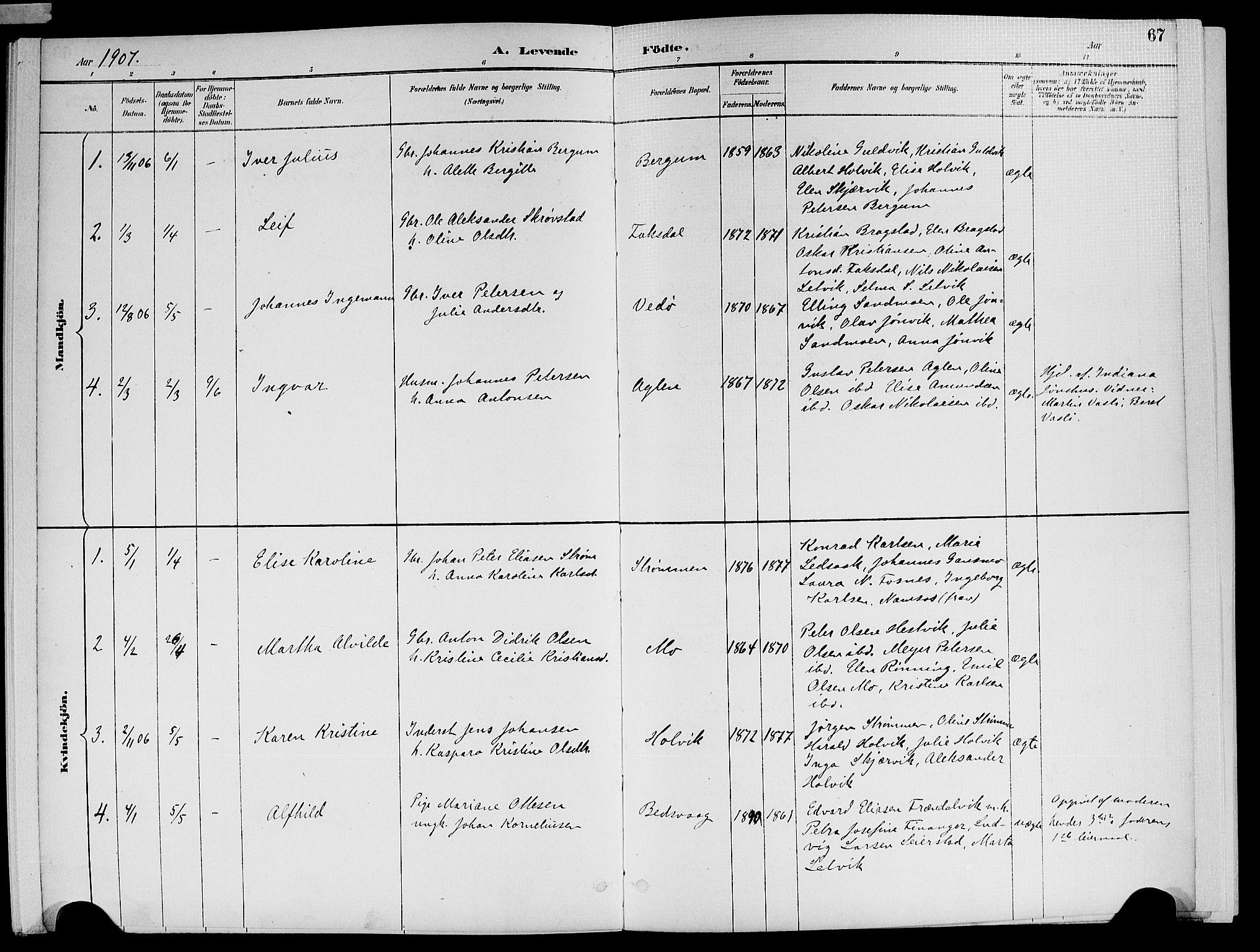 SAT, Ministerialprotokoller, klokkerbøker og fødselsregistre - Nord-Trøndelag, 773/L0617: Ministerialbok nr. 773A08, 1887-1910, s. 67