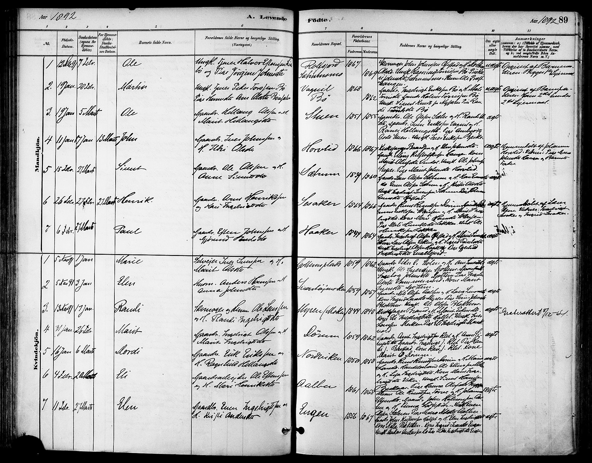 SAT, Ministerialprotokoller, klokkerbøker og fødselsregistre - Sør-Trøndelag, 678/L0901: Ministerialbok nr. 678A10, 1881-1894, s. 89
