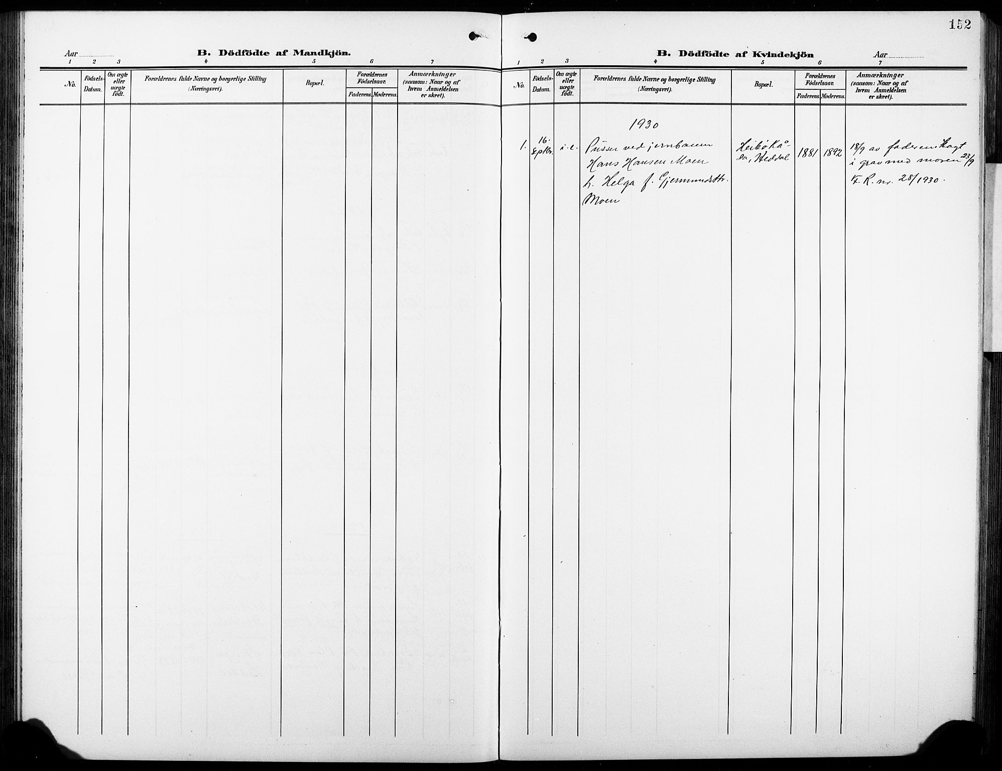 SAKO, Heddal kirkebøker, G/Ga/L0003: Klokkerbok nr. I 3, 1908-1932, s. 152