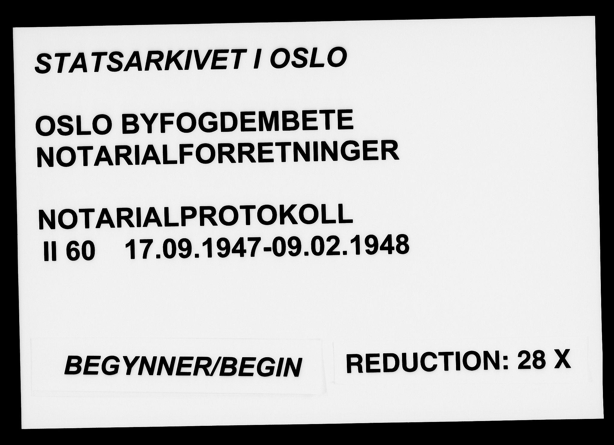 SAO, Oslo byfogd avd. I, L/Lb/Lbb/L0060: Notarialprotokoll, rekke II: Vigsler, 1947-1948, s. upaginert