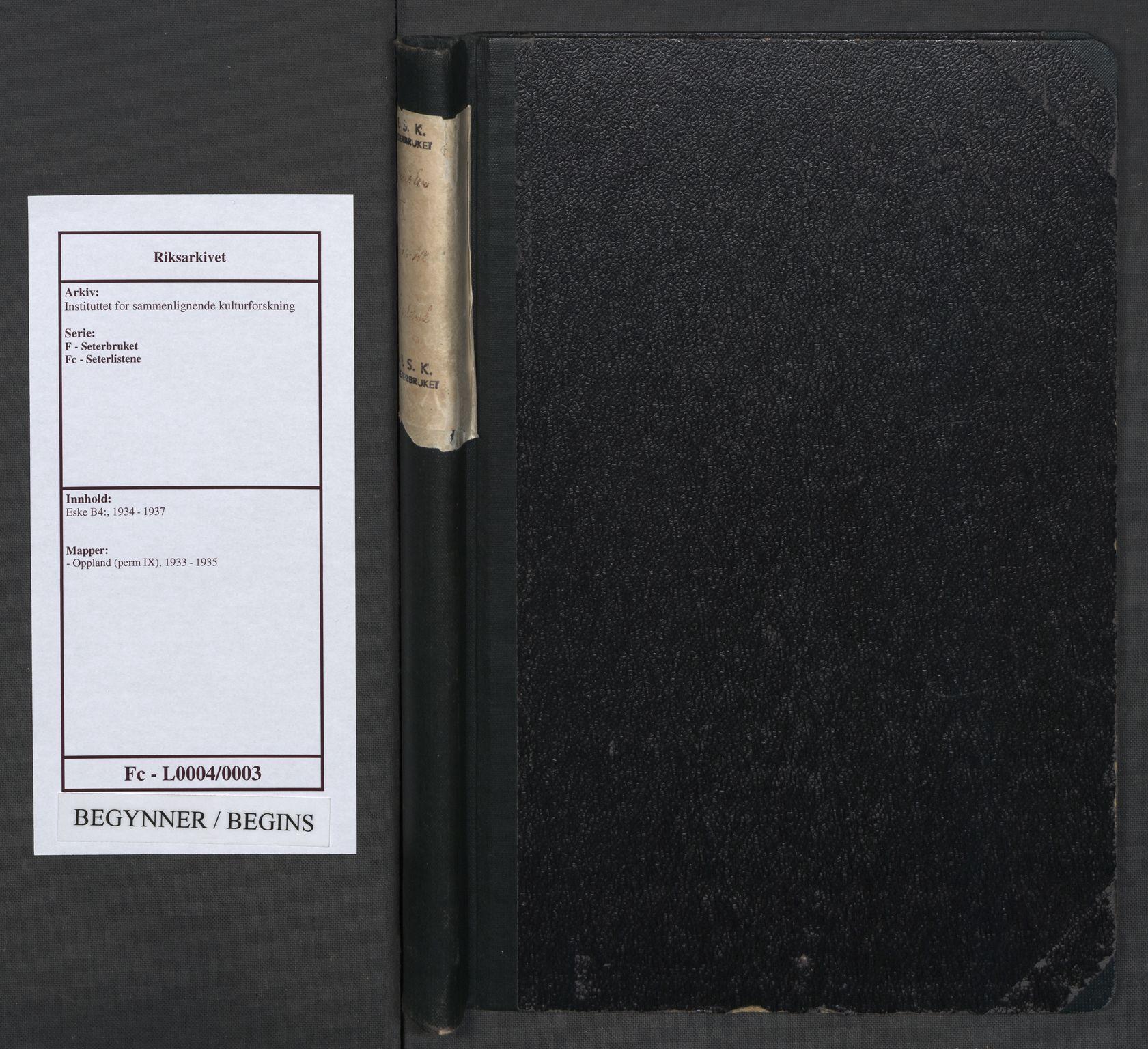 RA, Instituttet for sammenlignende kulturforskning, F/Fc/L0004: Eske B4:, 1933-1935, s. upaginert
