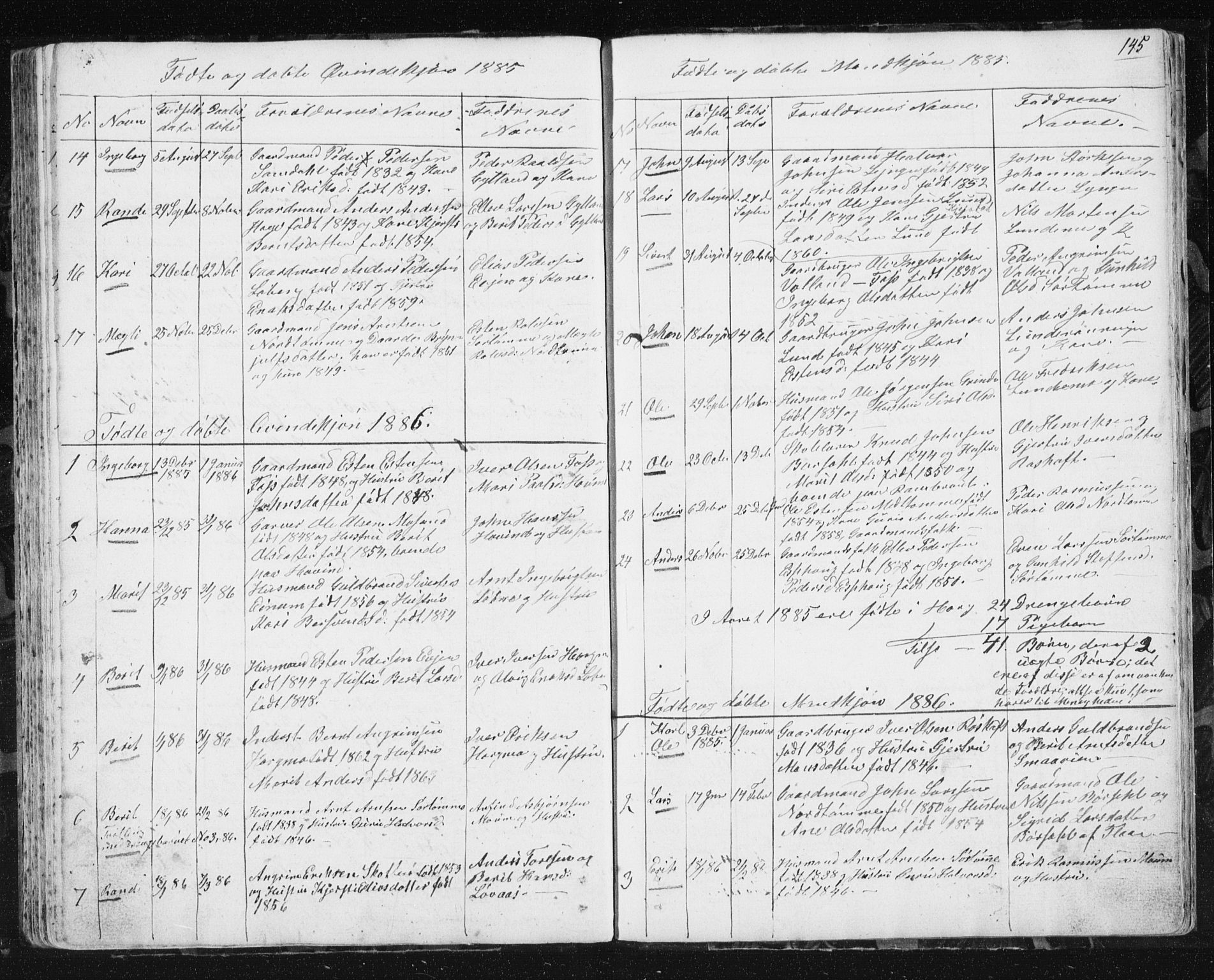 SAT, Ministerialprotokoller, klokkerbøker og fødselsregistre - Sør-Trøndelag, 692/L1110: Klokkerbok nr. 692C05, 1849-1889, s. 145