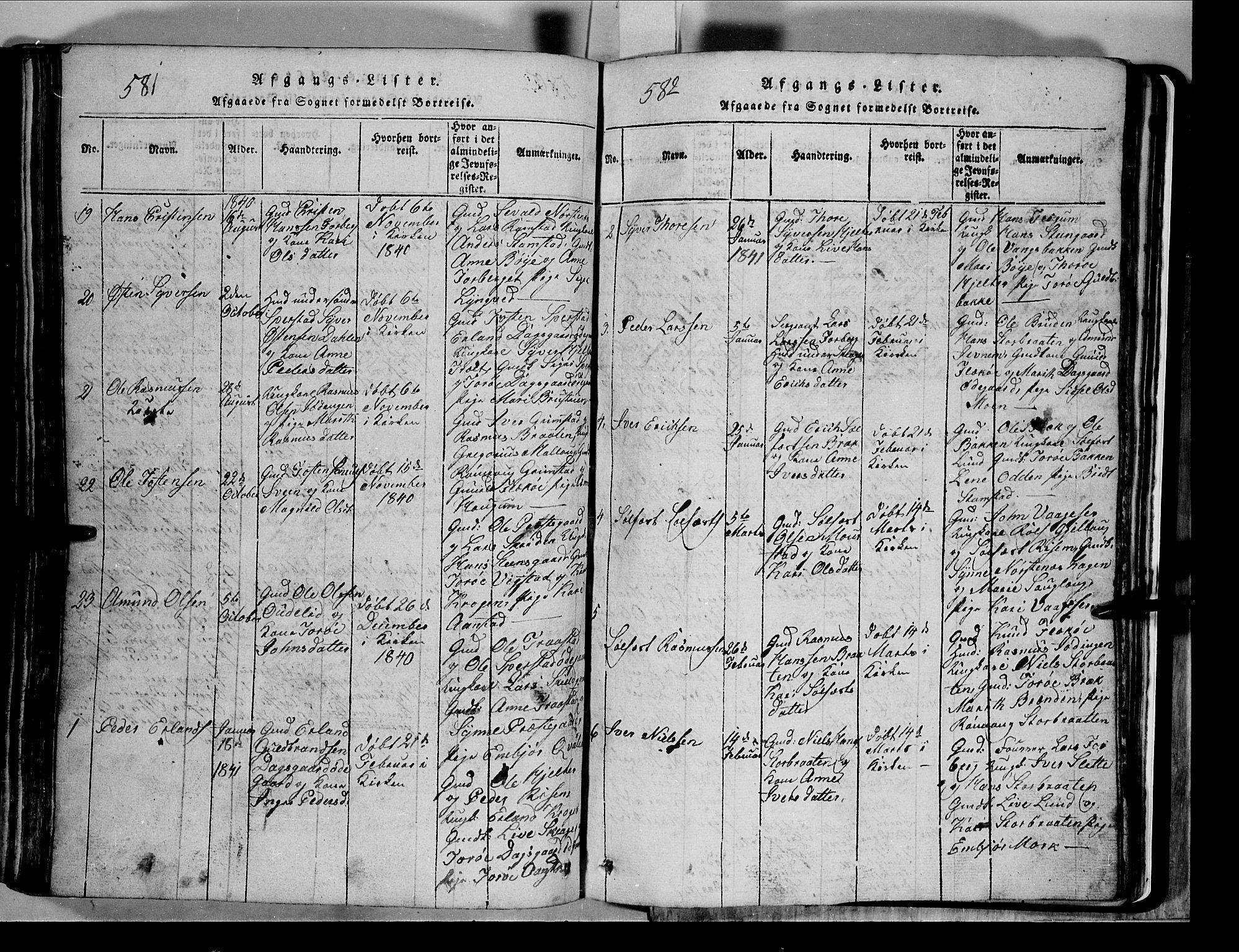 SAH, Lom prestekontor, L/L0003: Klokkerbok nr. 3, 1815-1844, s. 581-582