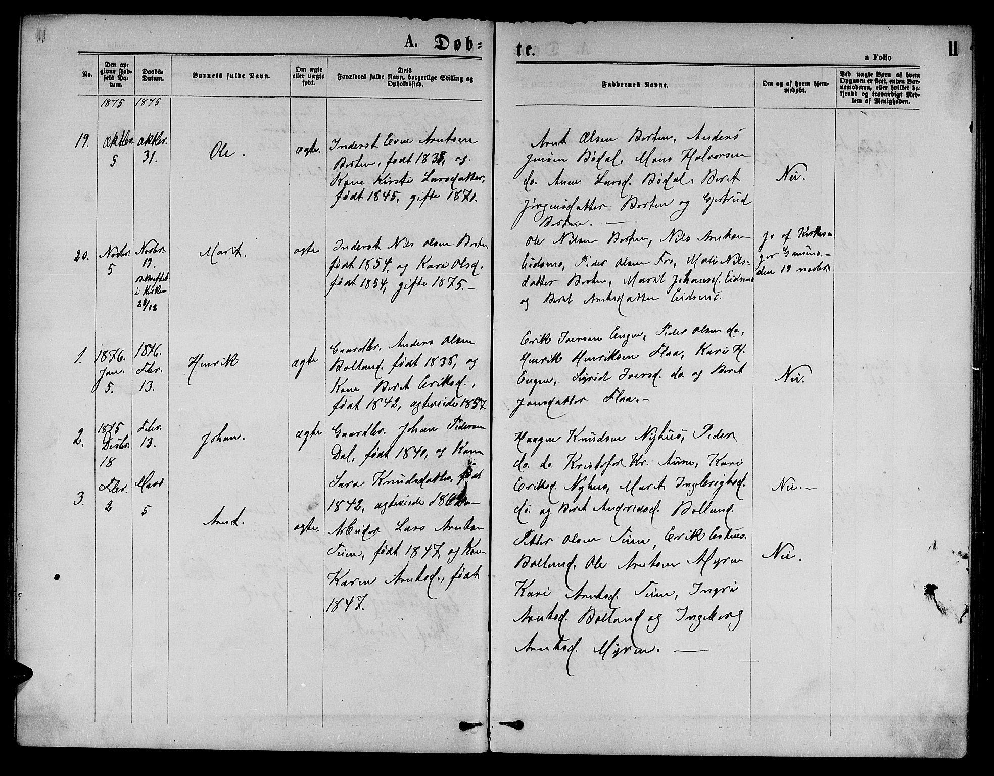 SAT, Ministerialprotokoller, klokkerbøker og fødselsregistre - Sør-Trøndelag, 693/L1122: Klokkerbok nr. 693C03, 1870-1886, s. 11