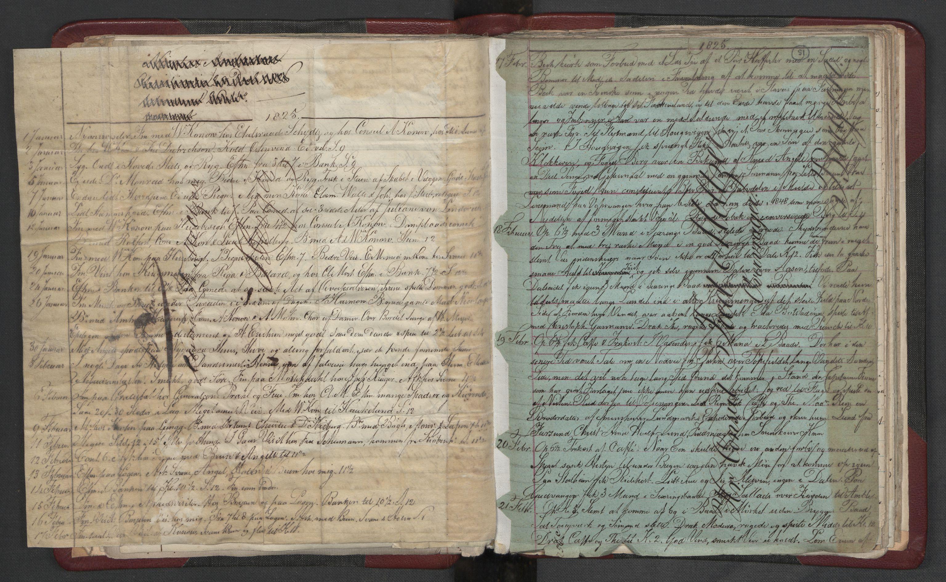 RA, Meltzer, Fredrik, F/L0004: Dagbok, 1822-1830, s. 50b-51a