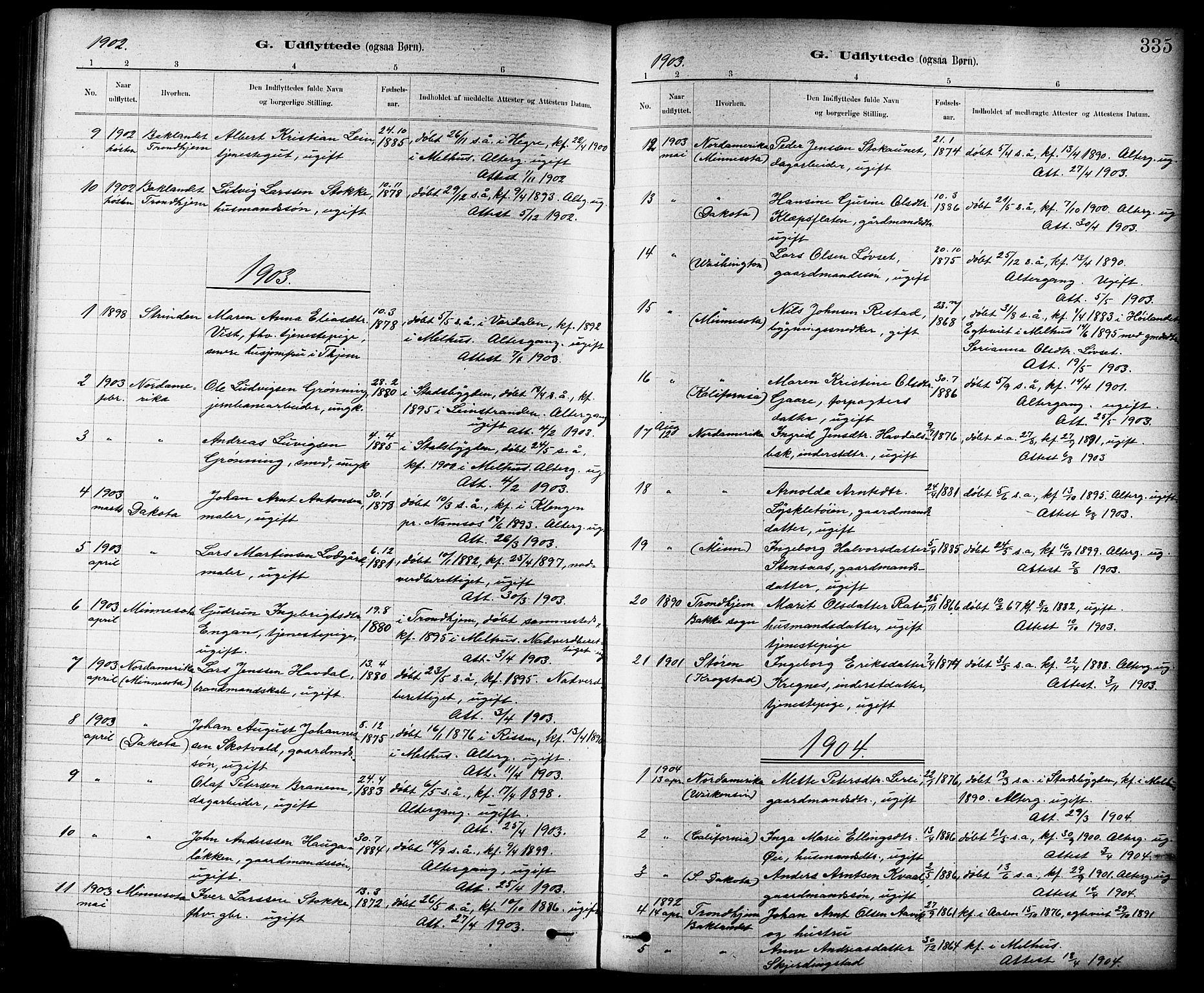 SAT, Ministerialprotokoller, klokkerbøker og fødselsregistre - Sør-Trøndelag, 691/L1094: Klokkerbok nr. 691C05, 1879-1911, s. 335