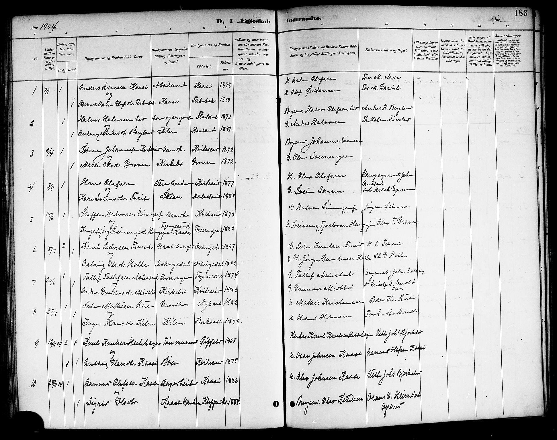 SAKO, Kviteseid kirkebøker, G/Ga/L0002: Klokkerbok nr. I 2, 1893-1918, s. 183