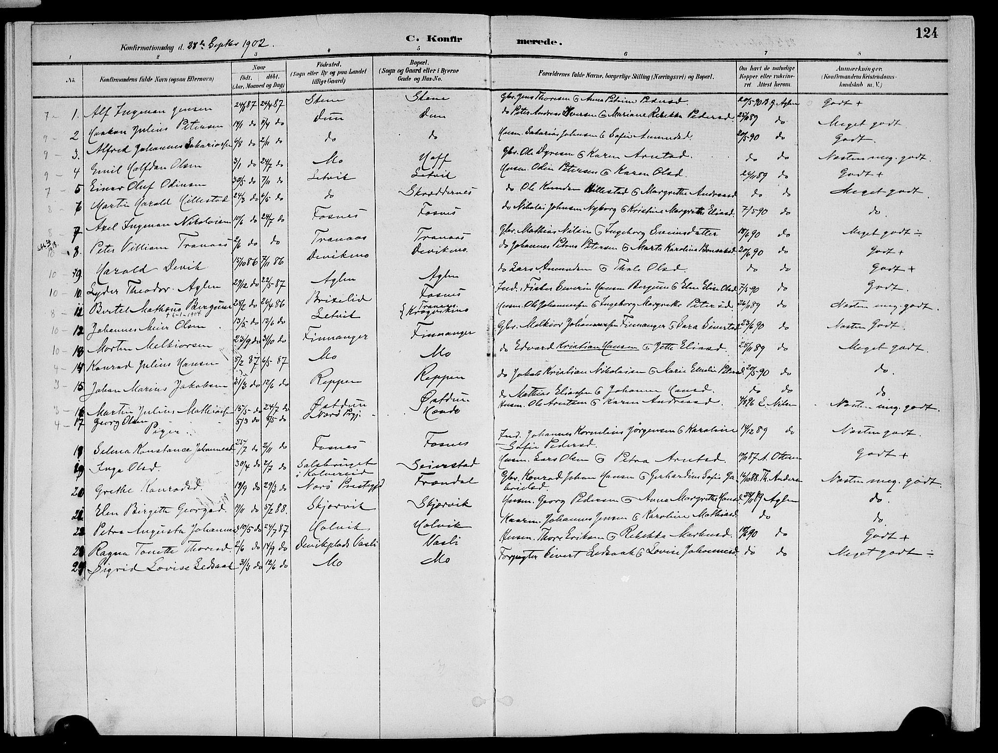 SAT, Ministerialprotokoller, klokkerbøker og fødselsregistre - Nord-Trøndelag, 773/L0617: Ministerialbok nr. 773A08, 1887-1910, s. 124