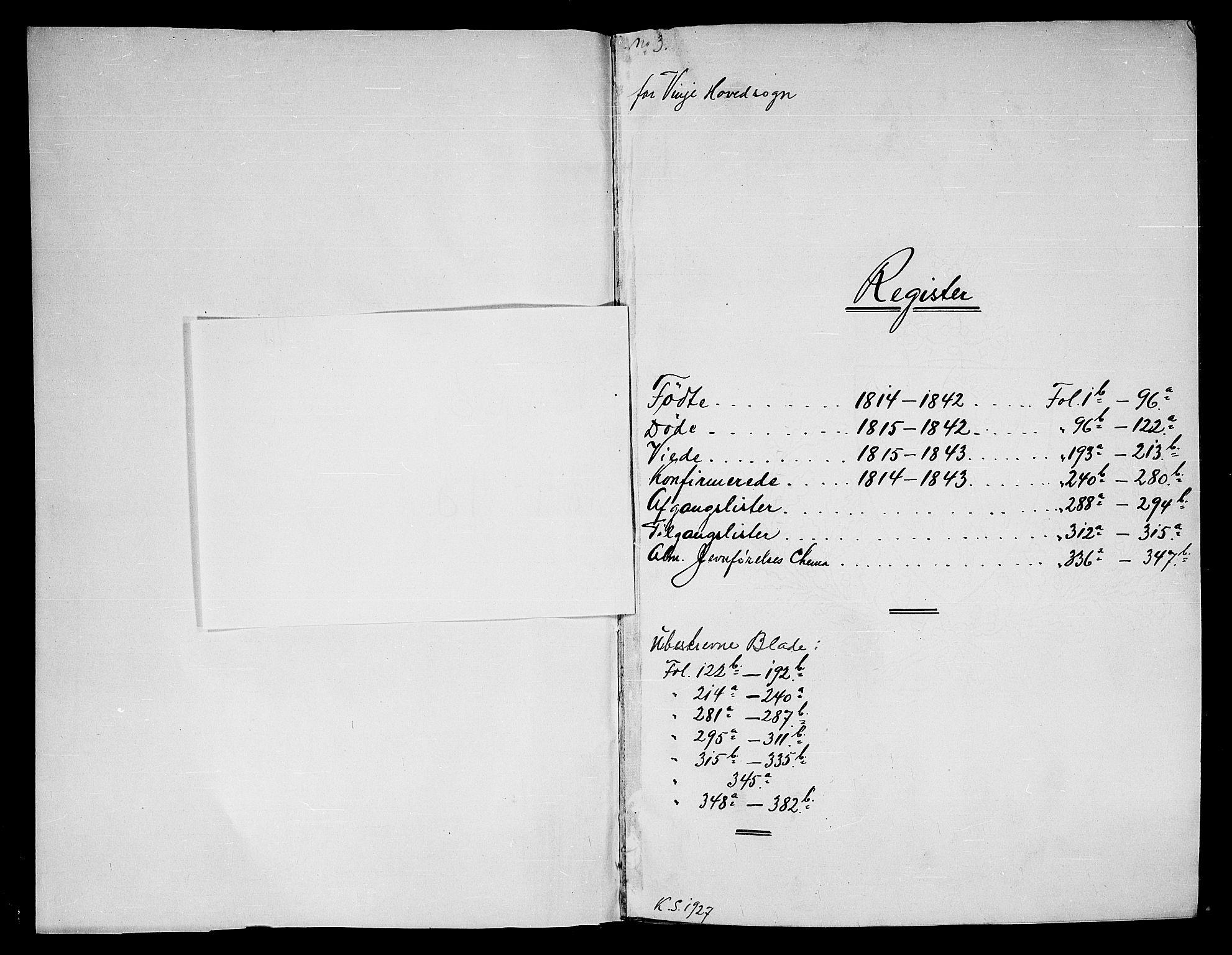 SAKO, Vinje kirkebøker, G/Ga/L0001: Klokkerbok nr. I 1, 1814-1843