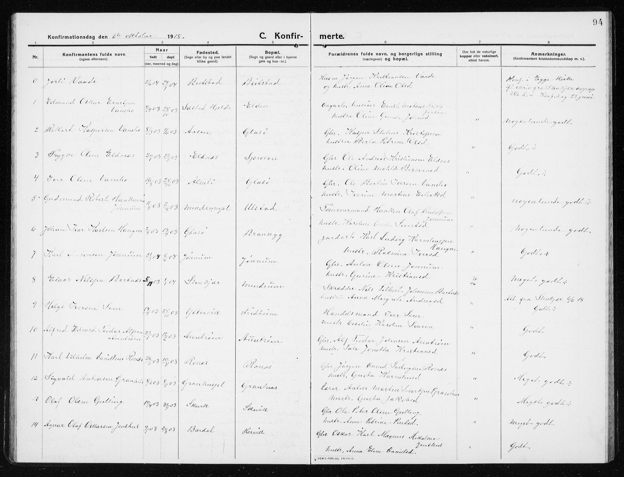 SAT, Ministerialprotokoller, klokkerbøker og fødselsregistre - Nord-Trøndelag, 741/L0402: Klokkerbok nr. 741C03, 1911-1926, s. 94