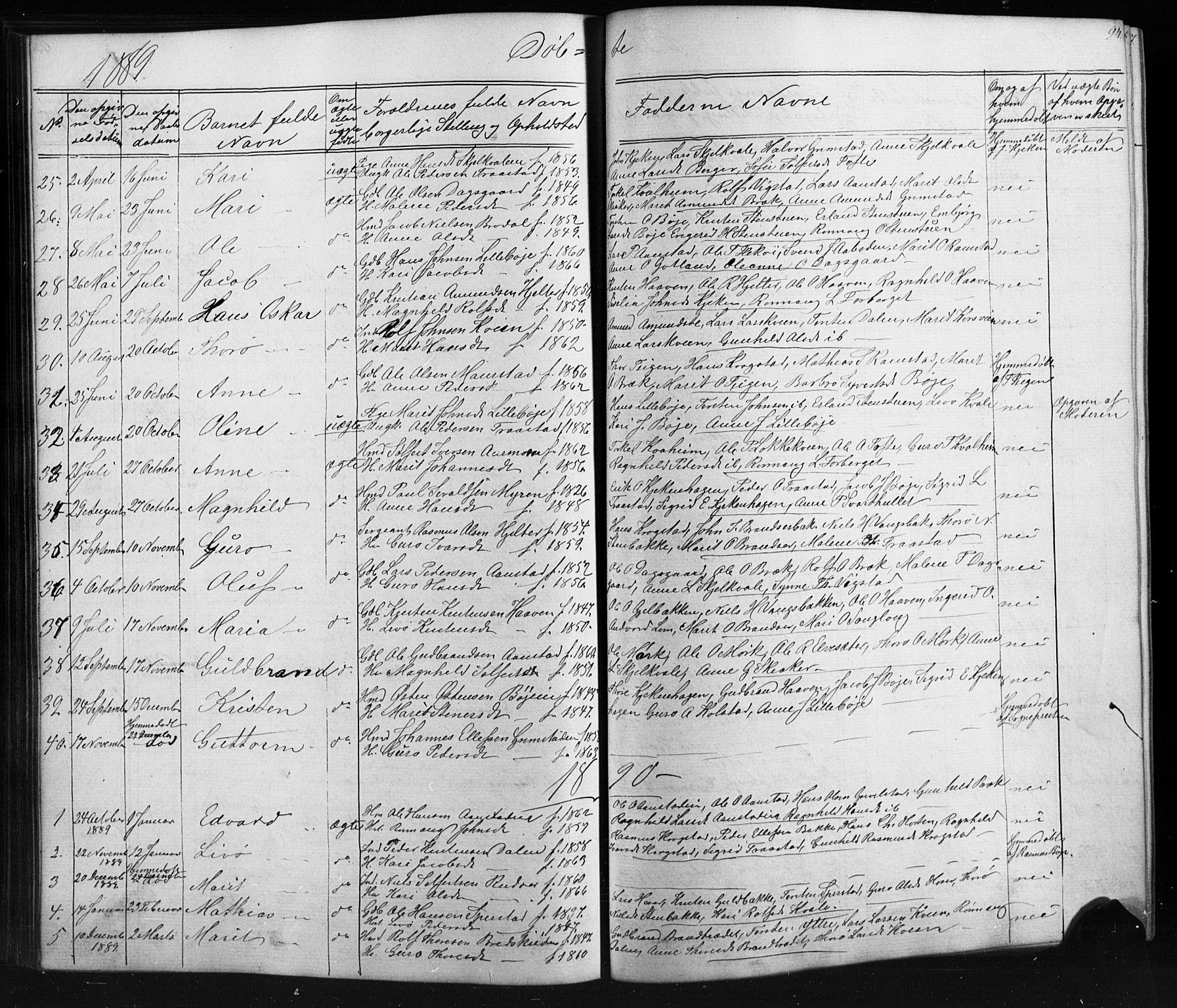 SAH, Skjåk prestekontor, Klokkerbok nr. 1, 1865-1893, s. 94